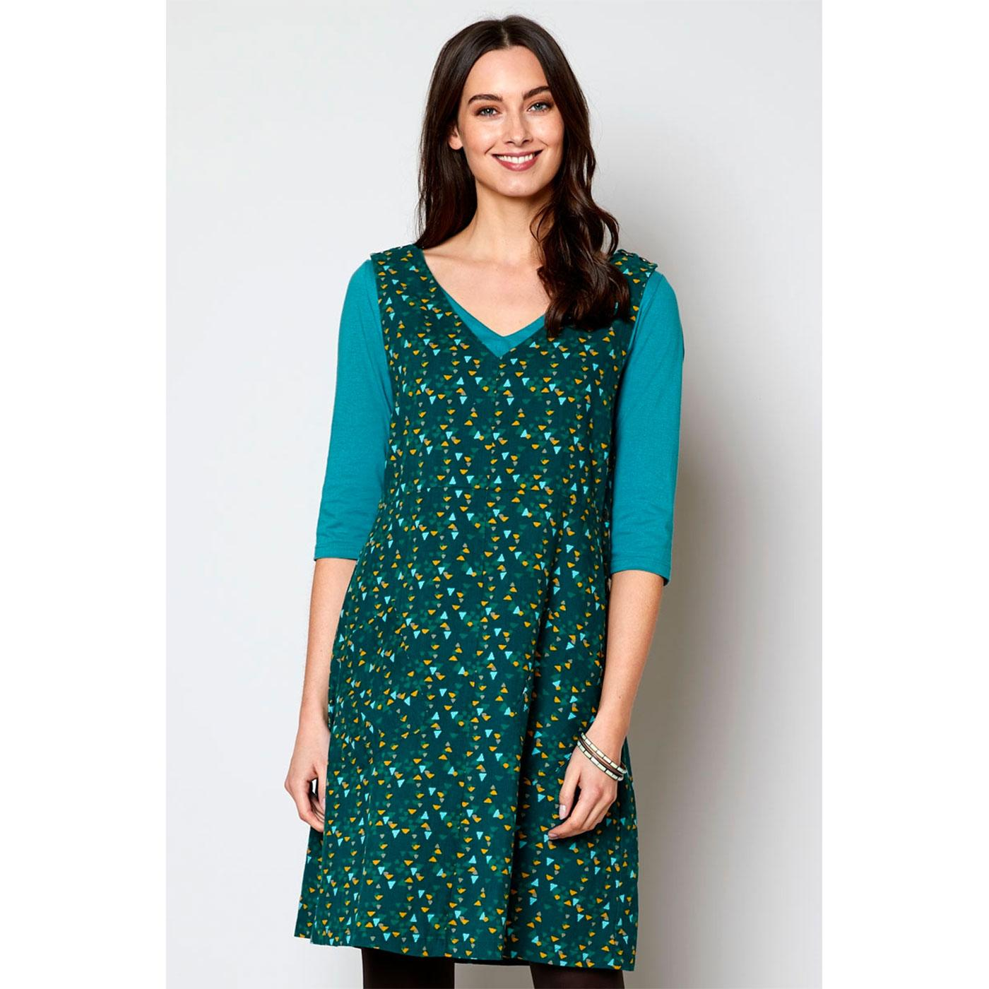 NOMADS Retro 70s Needlecord Pinafore Dress in Fern
