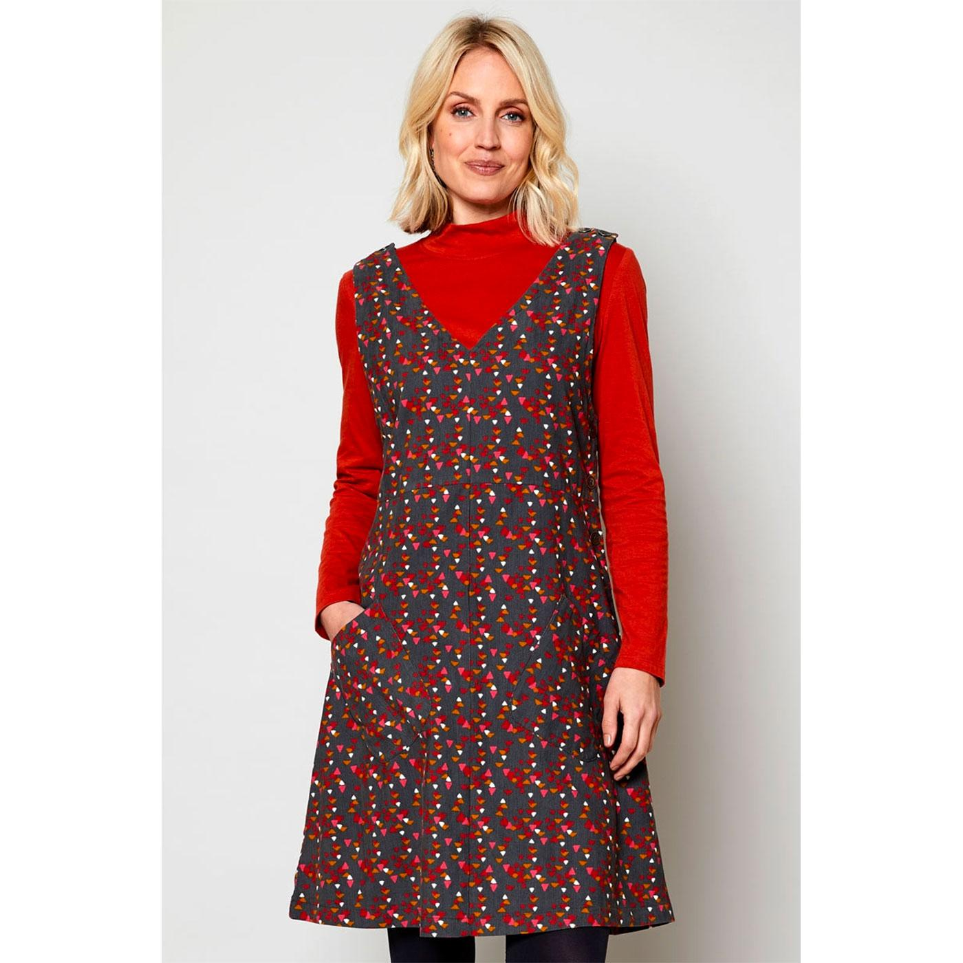 NOMADS Retro 70s Needlecord Pinafore Dress in Rock