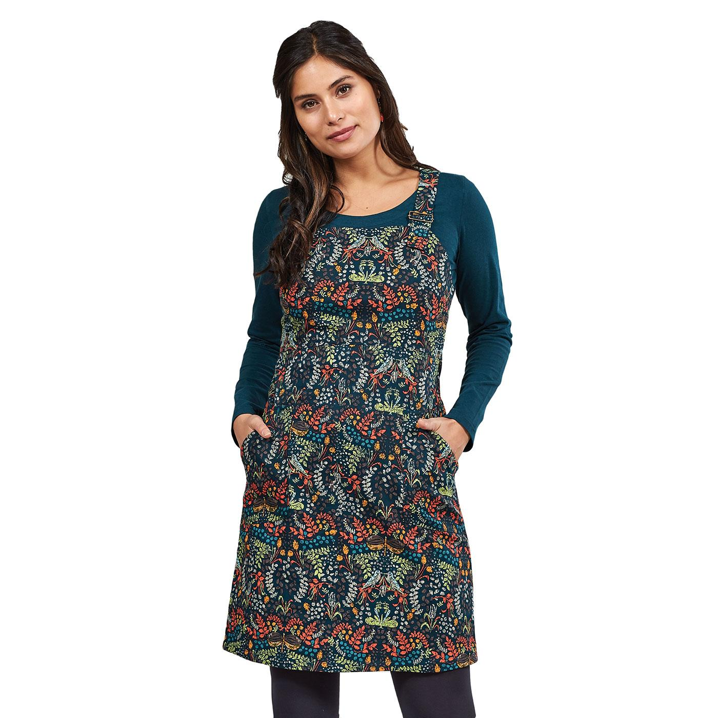 NOMADS Retro 70s Songbird Print Dungaree Dress M