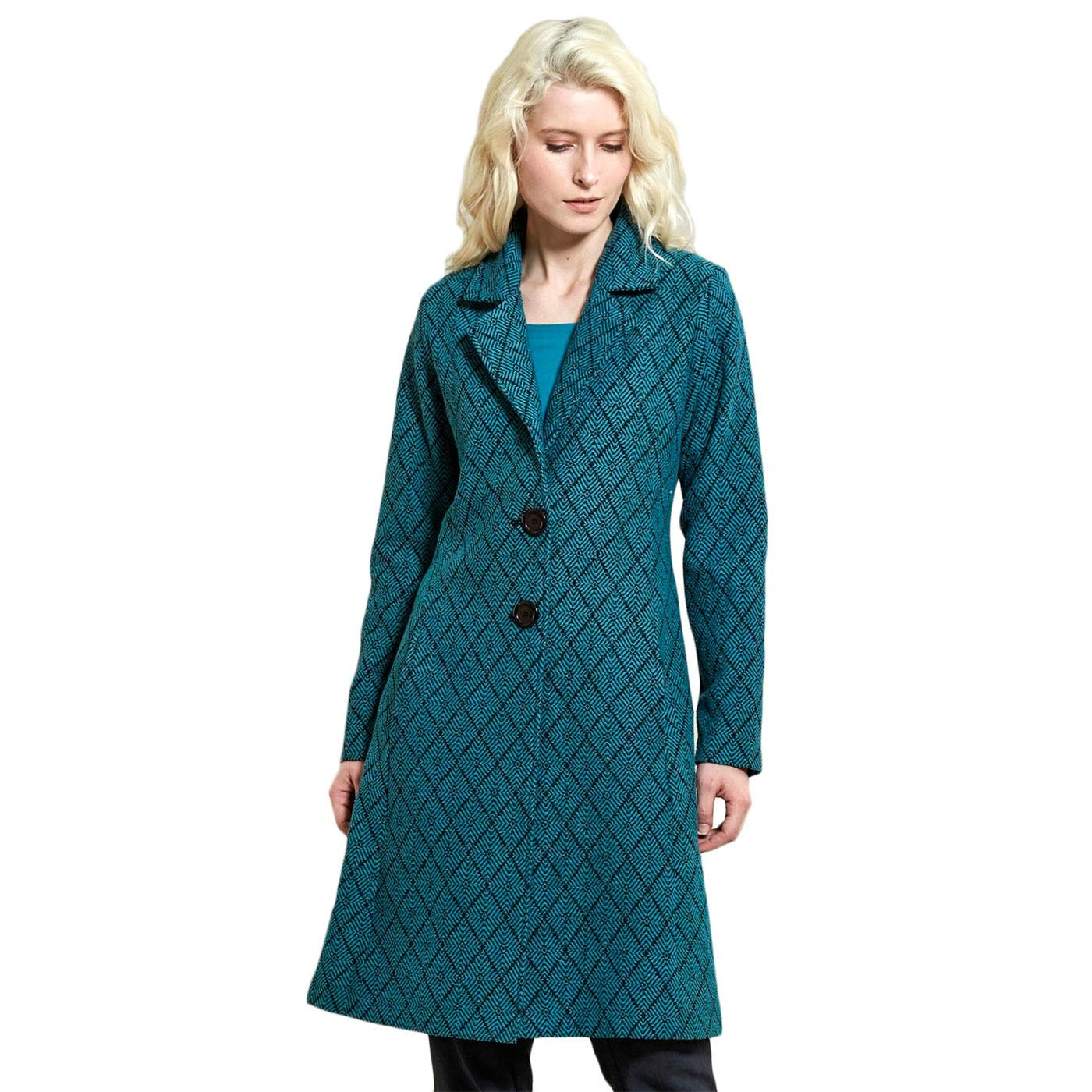 Fit and Flare NOMADS Geometric Tiled Coat Pacific