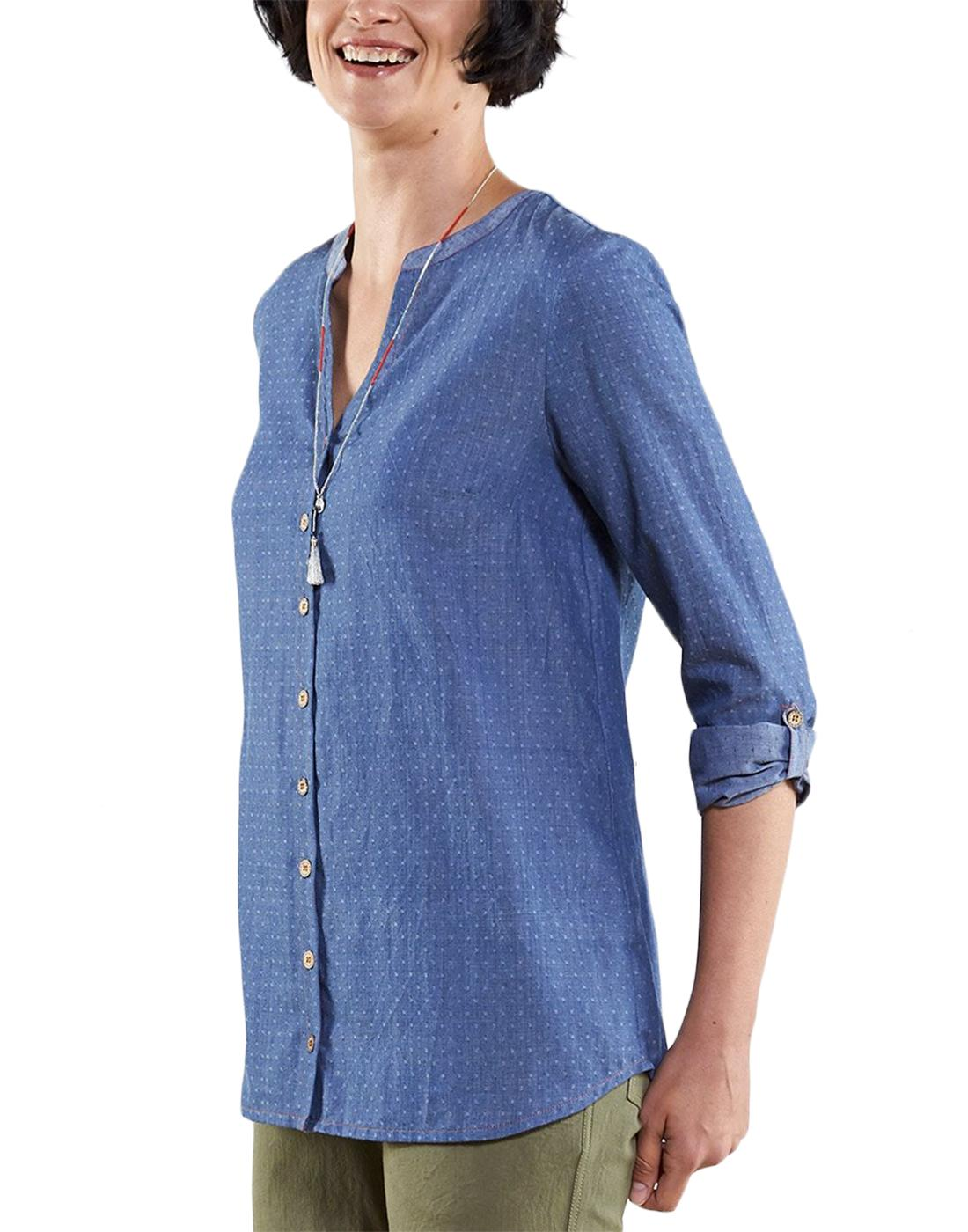 NOMADS Womens Retro Handloom Pin Dot Shirt