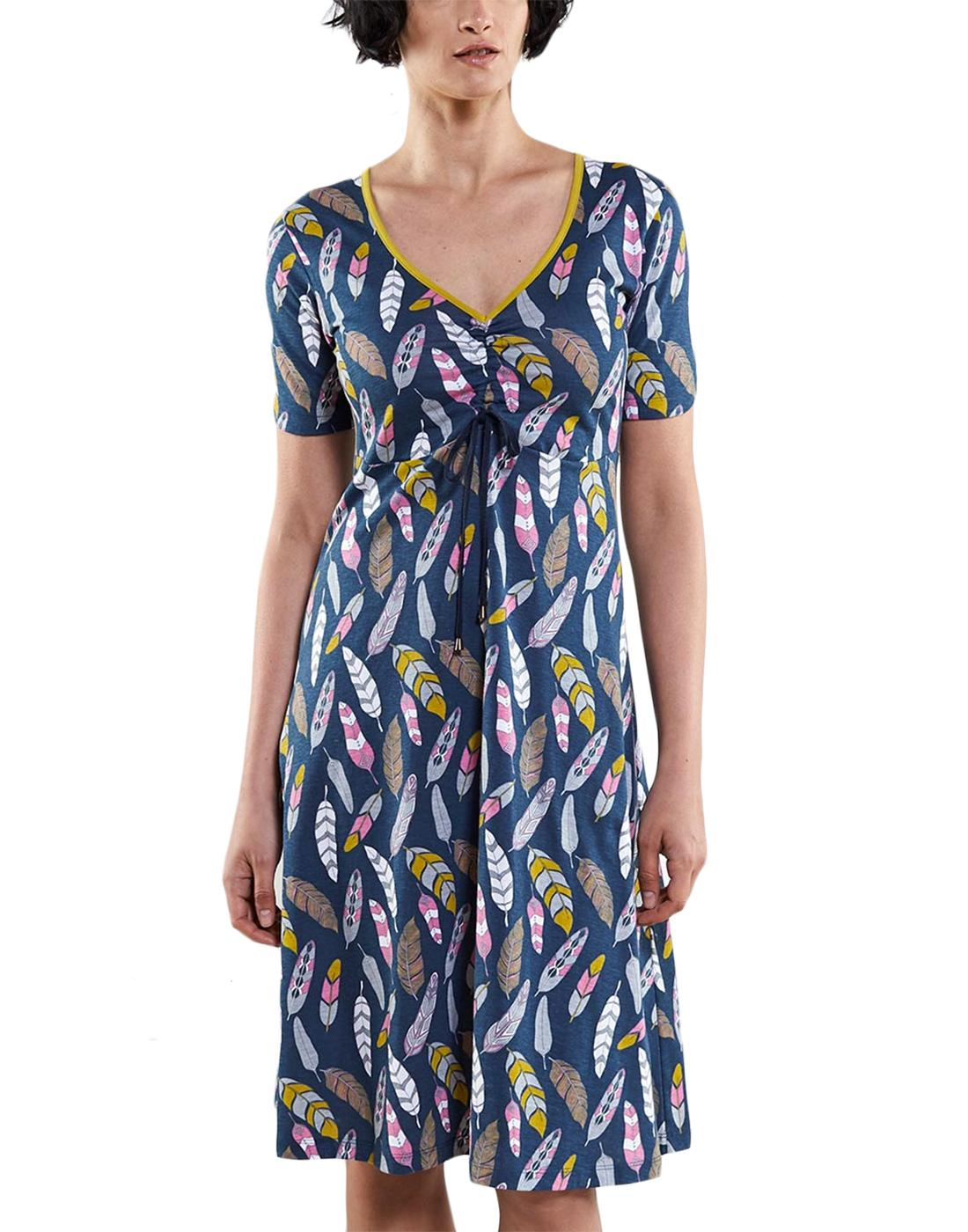 NOMADS Retro 70s Feather Print Ruche Summer Dress