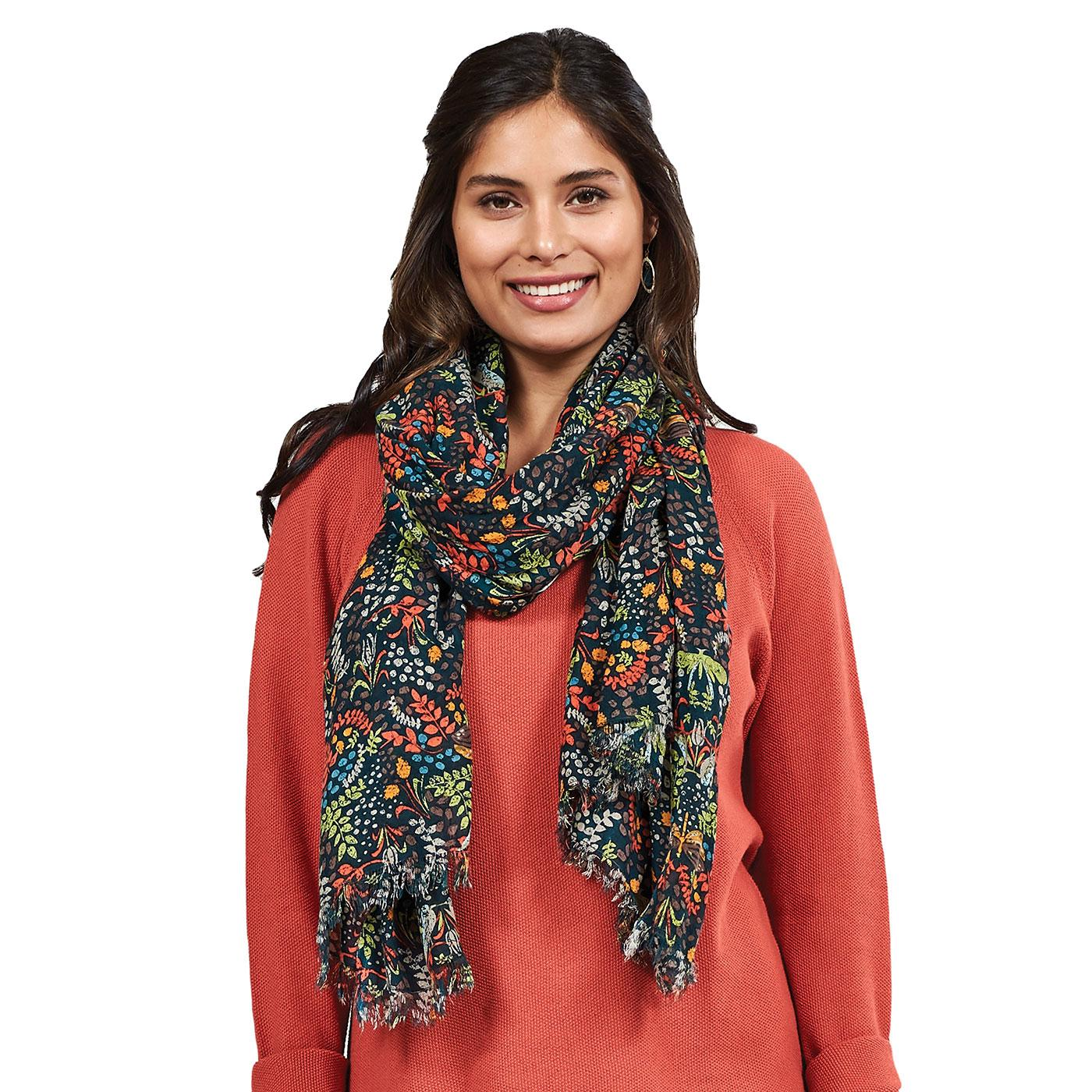 NOMADS Retro Woven Songbird Print Scarf in Myrtle