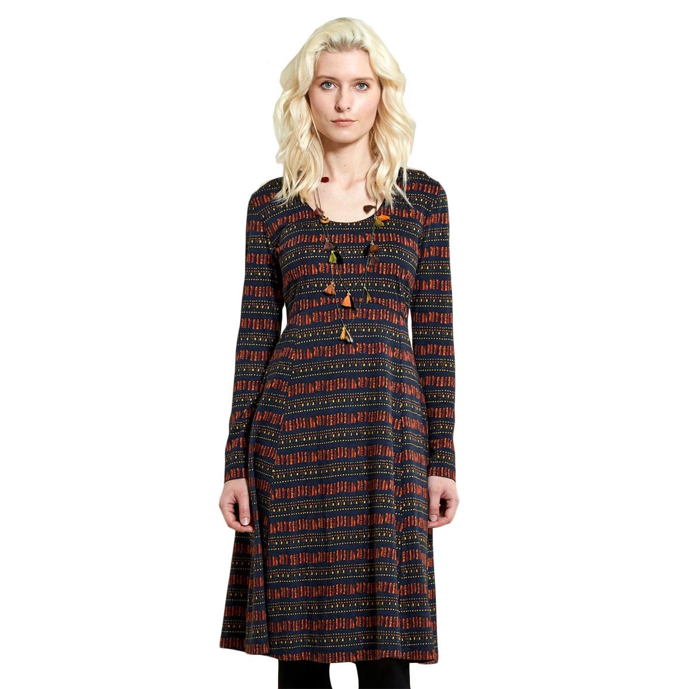 Long Sleeve NOMADS Pathways Print Dress In Sienna
