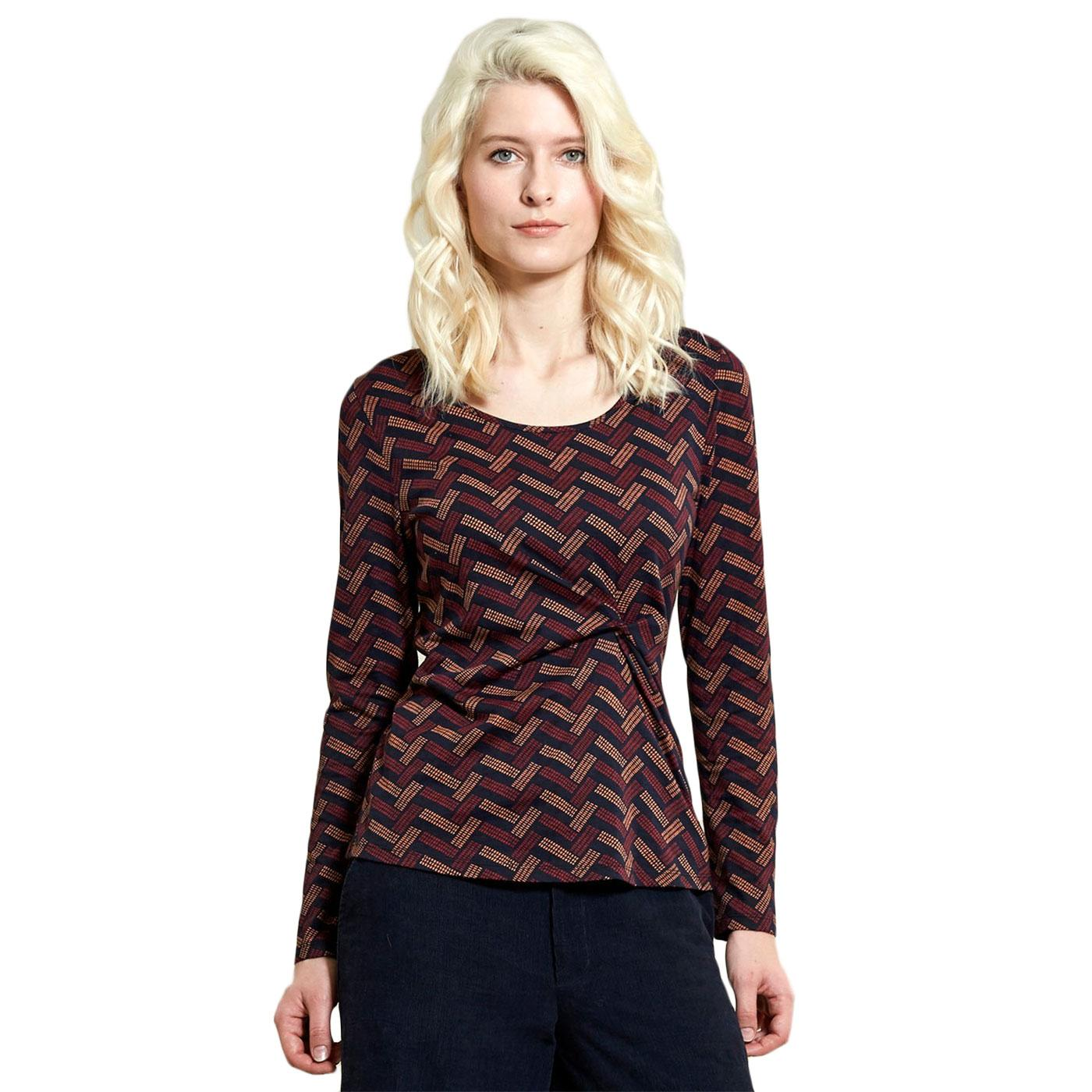 Twist Print NOMADS Retro Geometric Top Navy Blue