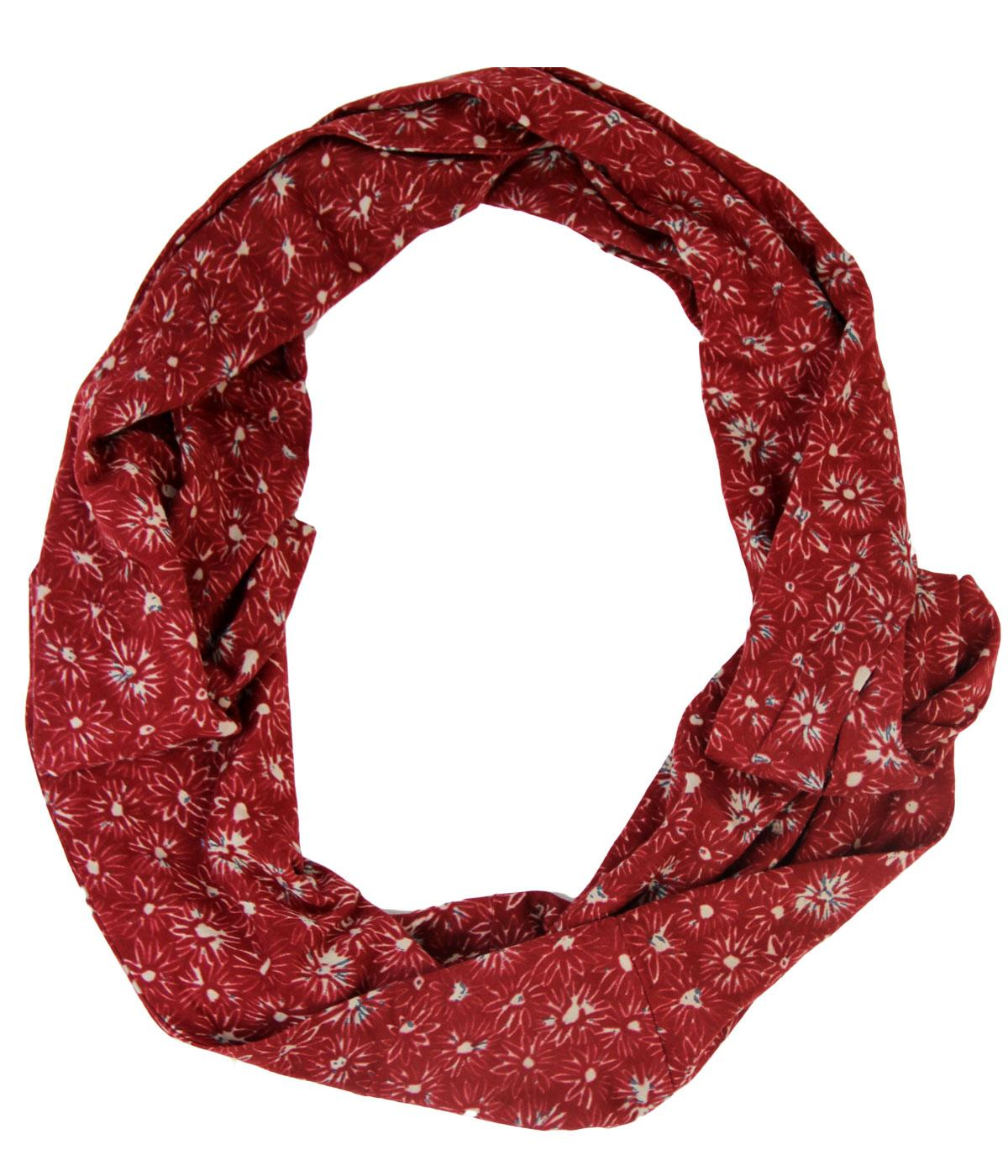 nomads retro organic cotton floral circle scarf in rust