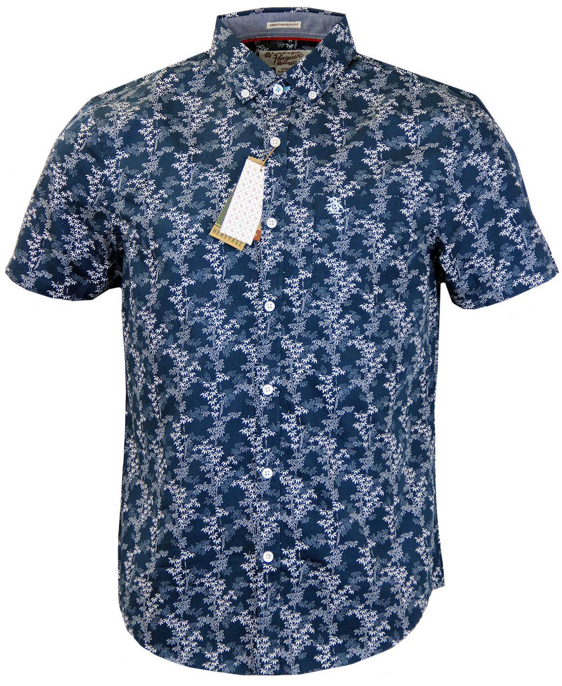 Original penguin retro mod button down floral bamboo shirt for Bamboo button down shirts
