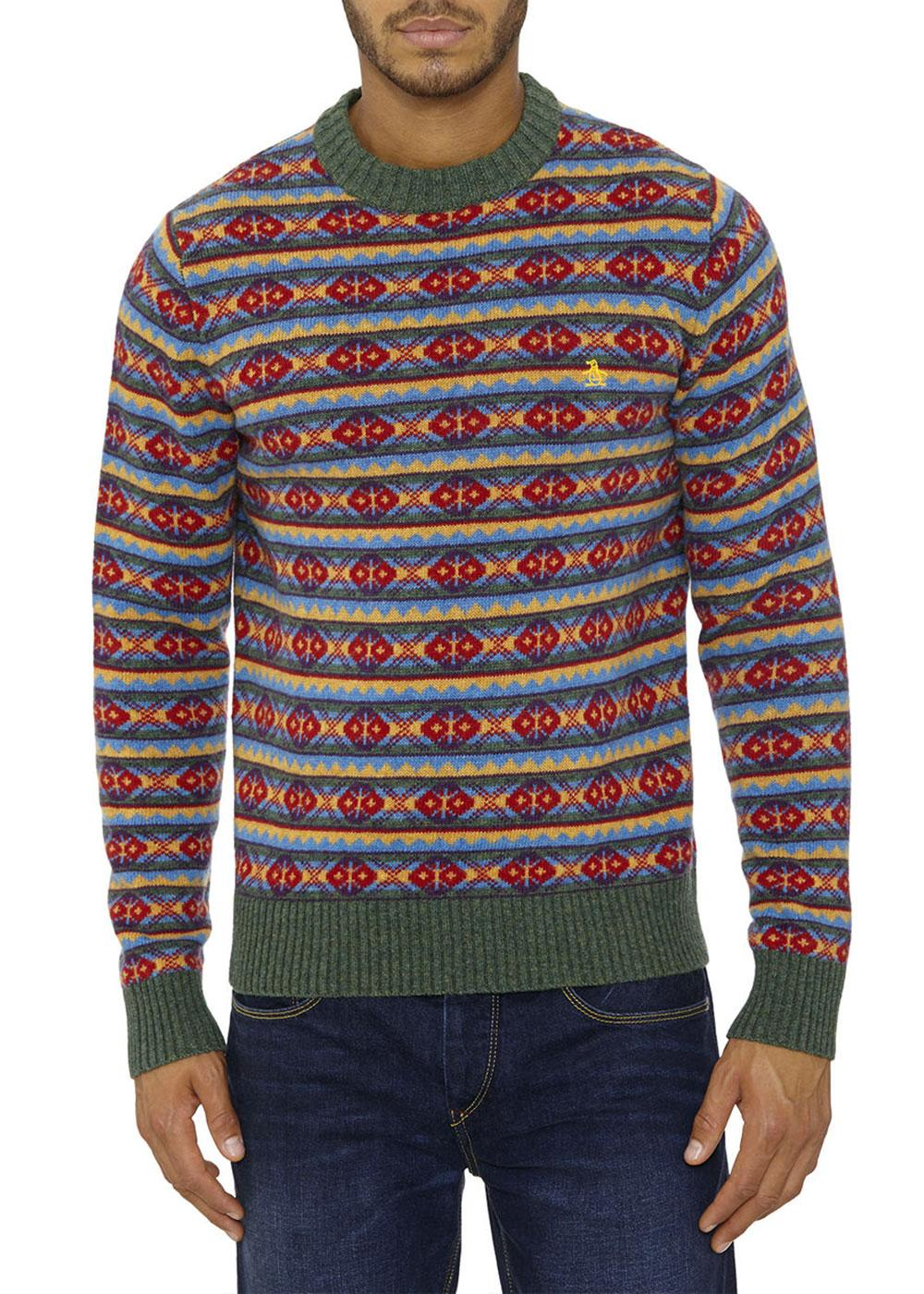 ORIGINAL PENGUIN Kurt Fair Isle Retro 1970s Jumper