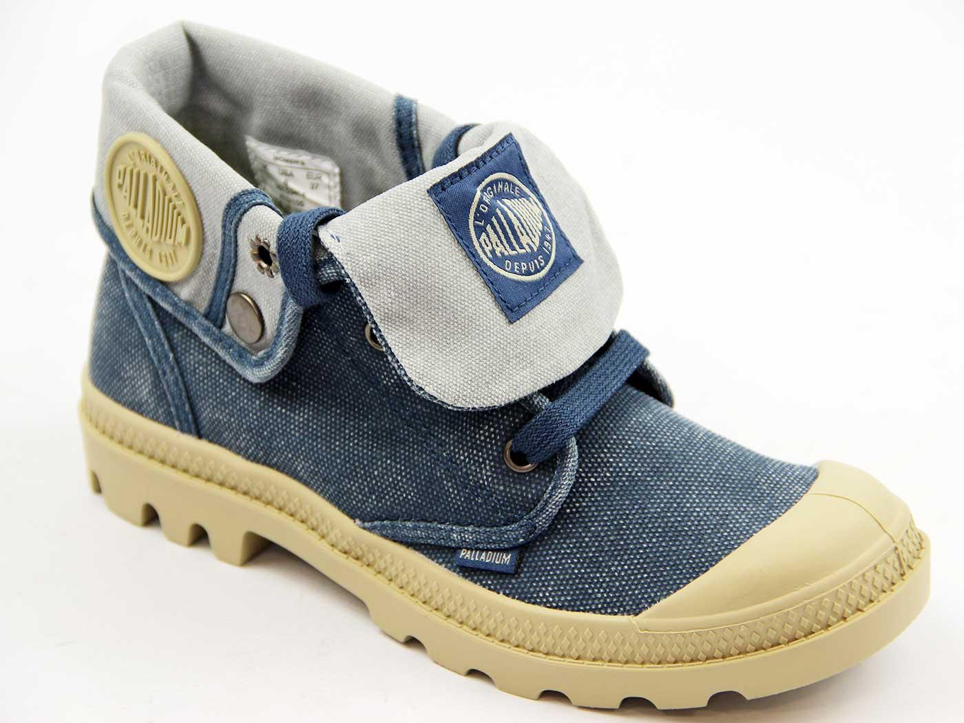 Baggy Low PALLADIUM Womens Retro Canvas Boots BLUE