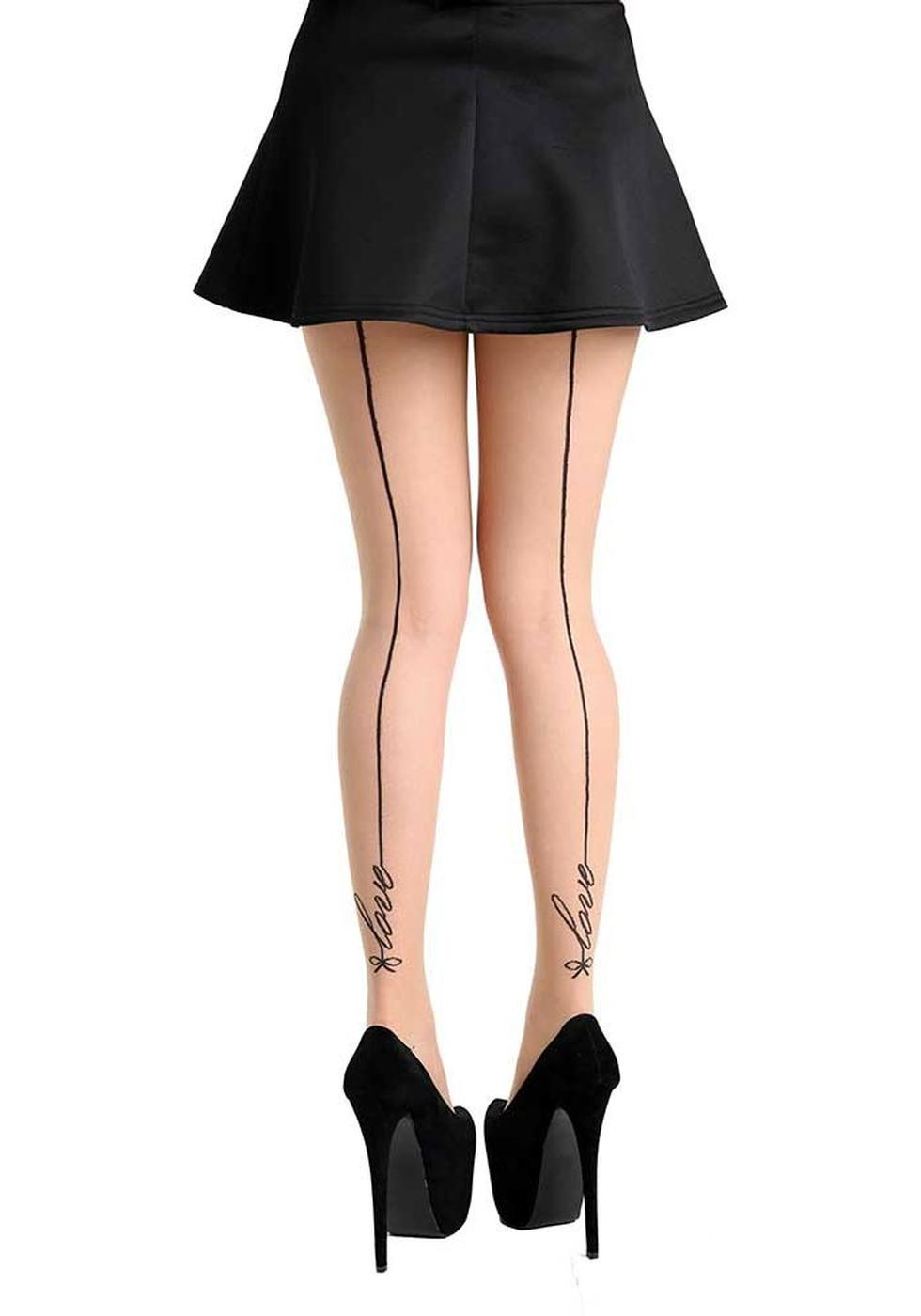 + PAMELA MANN Vintage Signature Love Seamed Tights