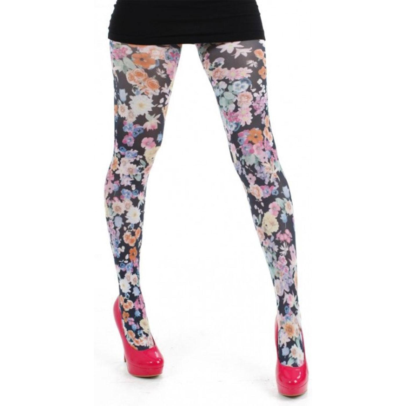 + Midnight Garden PAMELA MANN Floral Print Tights