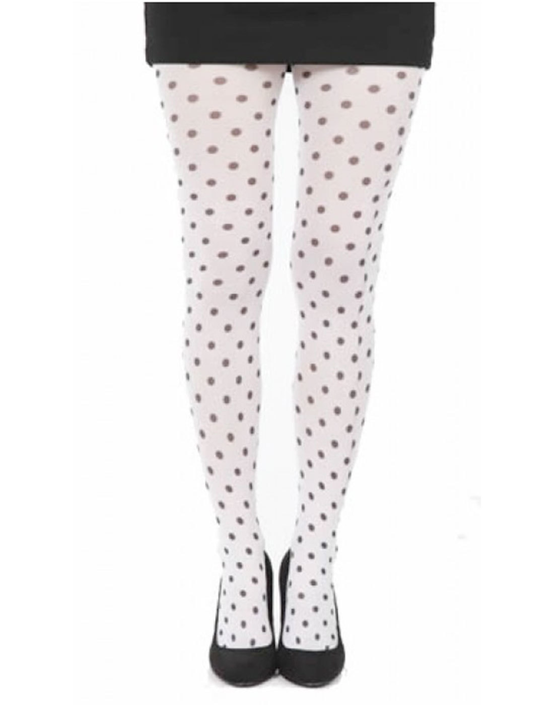 + PAMELA MANN Retro 60s Mod Polka Dot Tights White