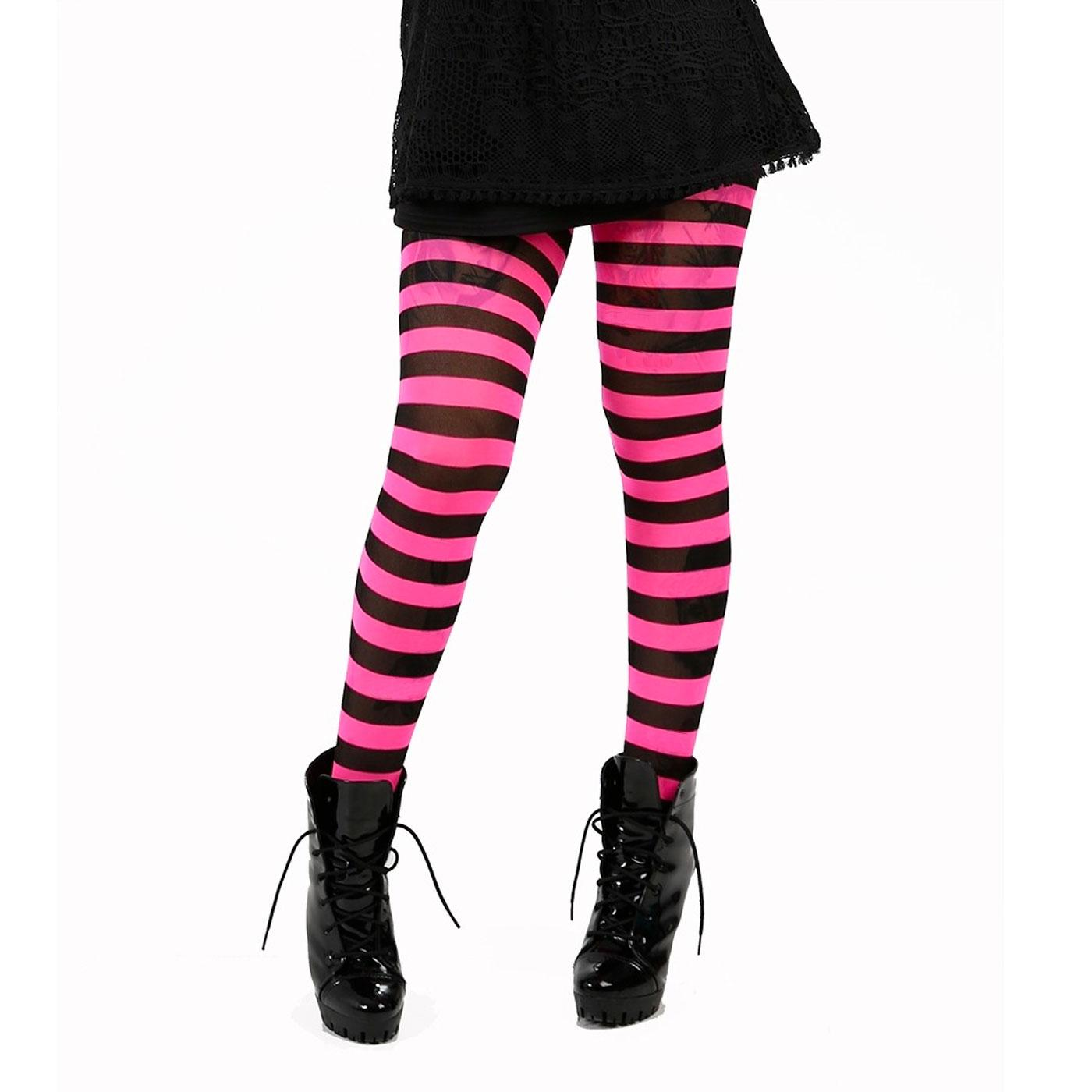 + Twickers PAMELA MANN Striped Tights PINK