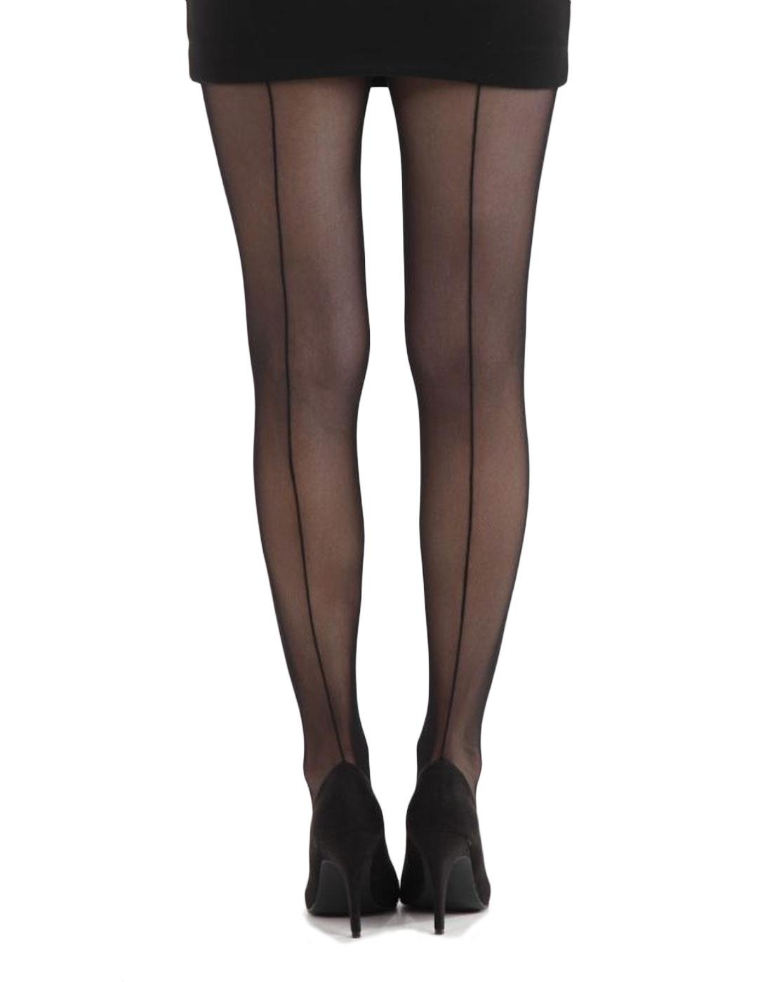 + PAMELA MANN Tulle Pencil Seamed Tights in Black
