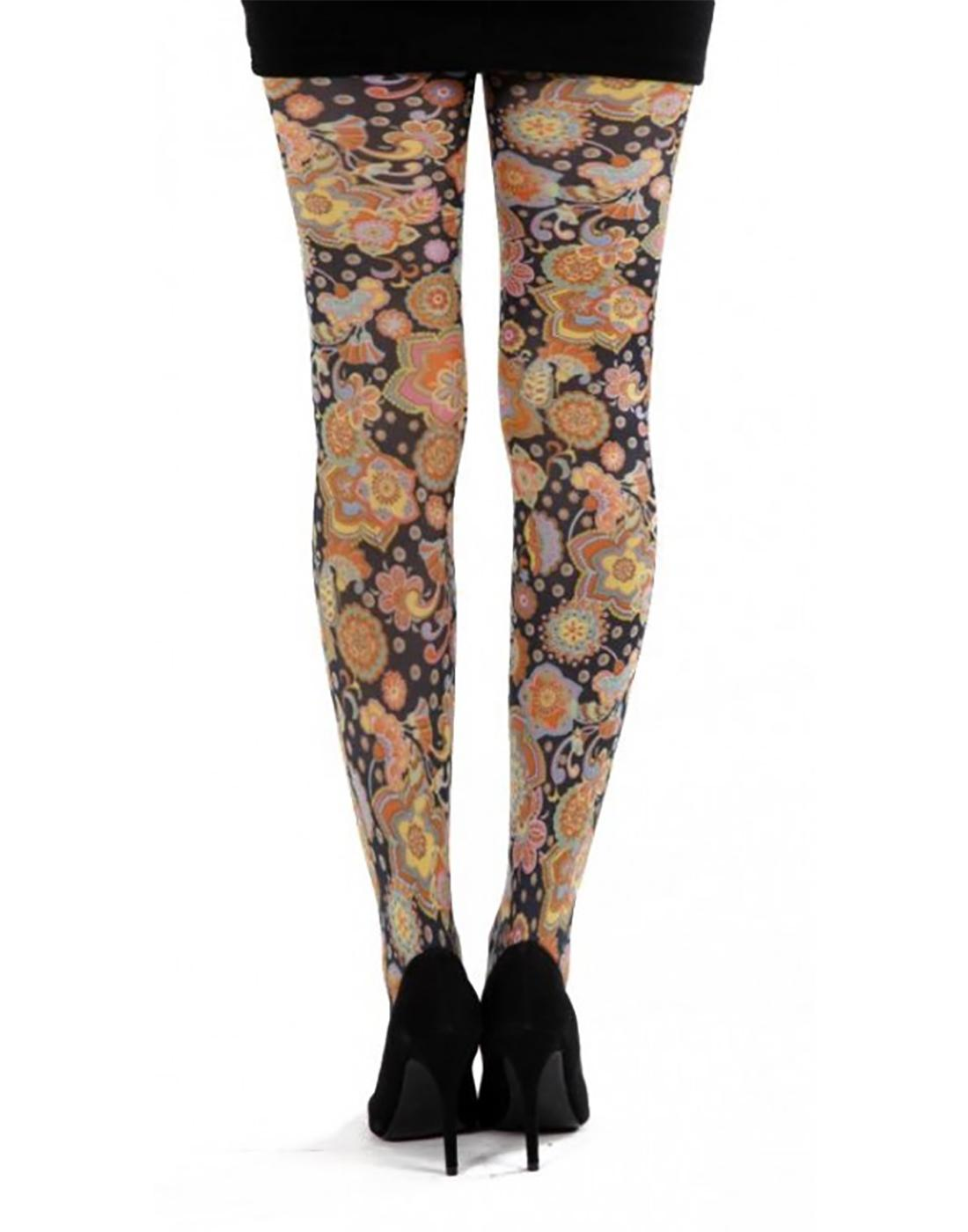 + Vibrant Flowers PAMELA MANN Retro Floral Tights