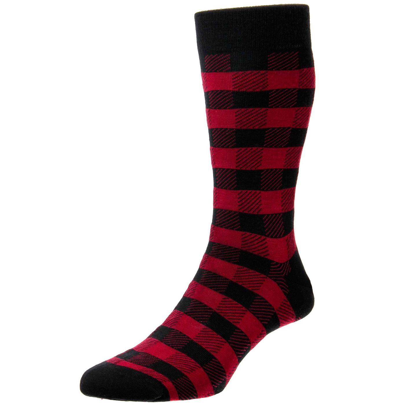 + Cooper PANTHERELLA Gingham Check Socks (B/R)