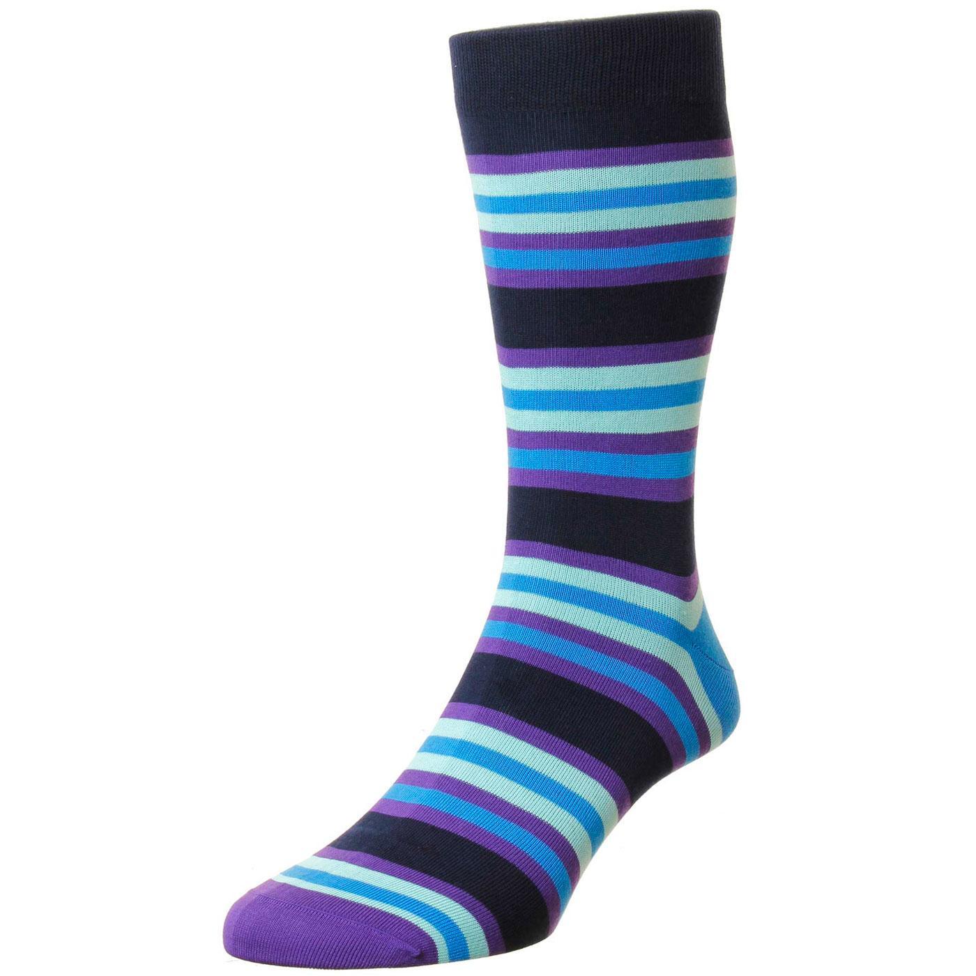 + Shibuya PANTHERELLA Retro Mod Stripe Socks NAVY