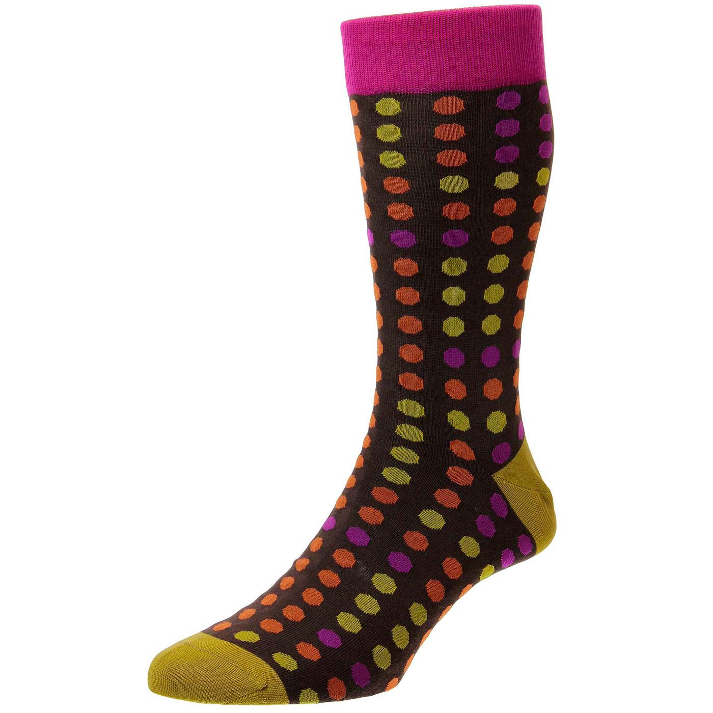 + Simkin PANTHERELLA Retro Polka Dot Socks (Mocha)