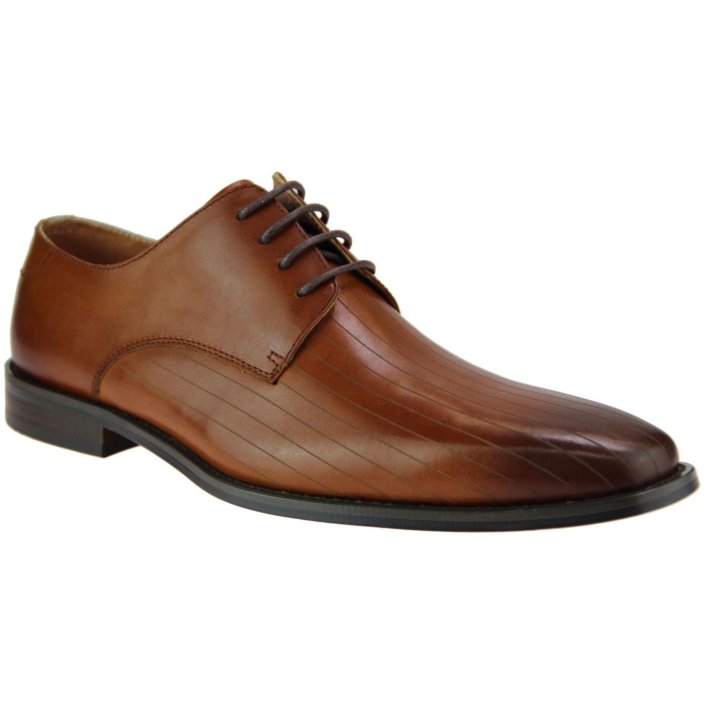 Crusoe PAOLO VANDINI Mod Pinstripe Derby Shoes TAN