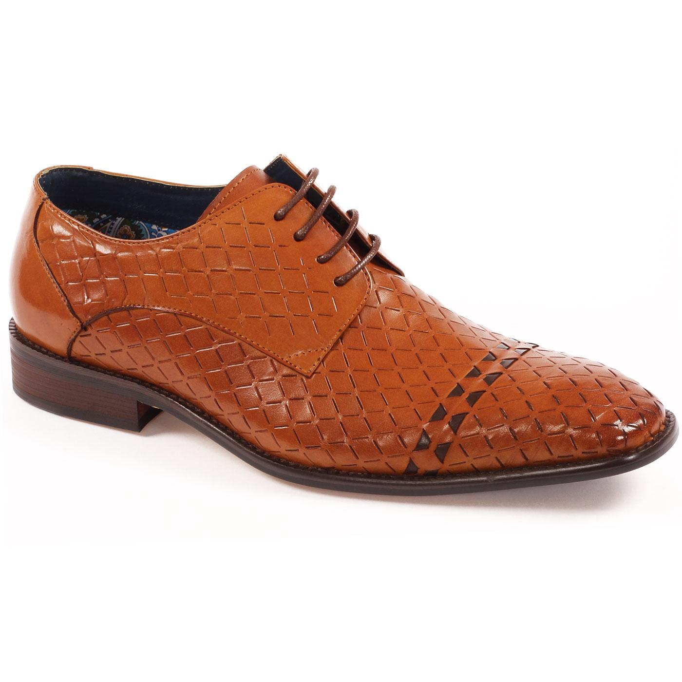Enoch PAOLO VANDINI Diamond Weave Derby Shoes TAN