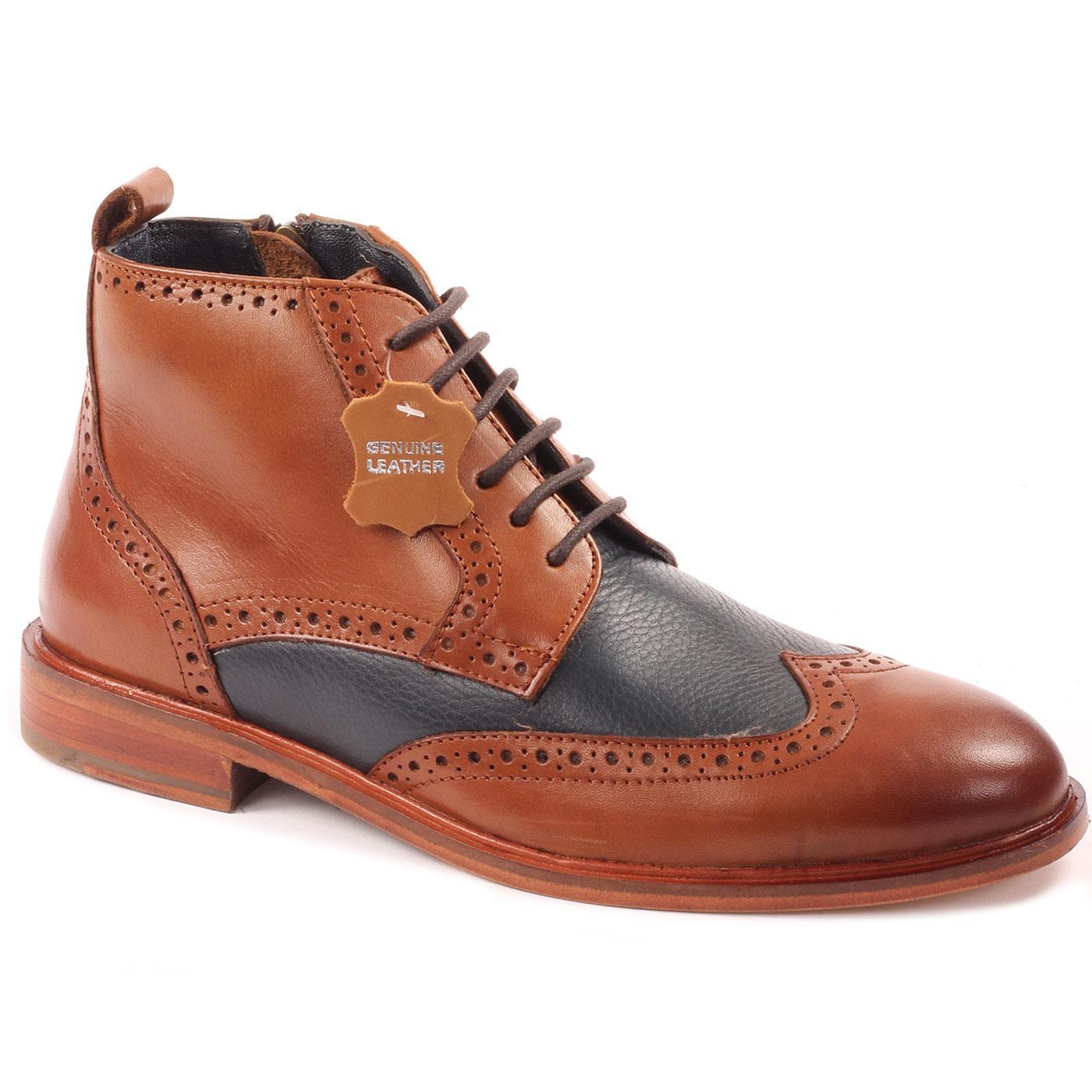 Eros PAOLO VANDINI Mod Side Zip Brogue Boots TAN