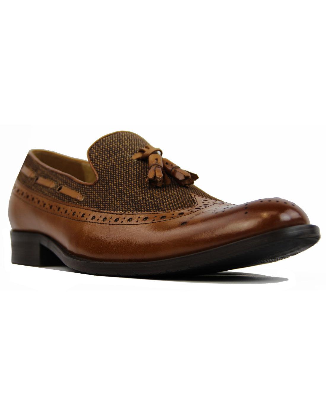 Nauvarro PAOLO VANDINI Mod Tweed Leather Loafers