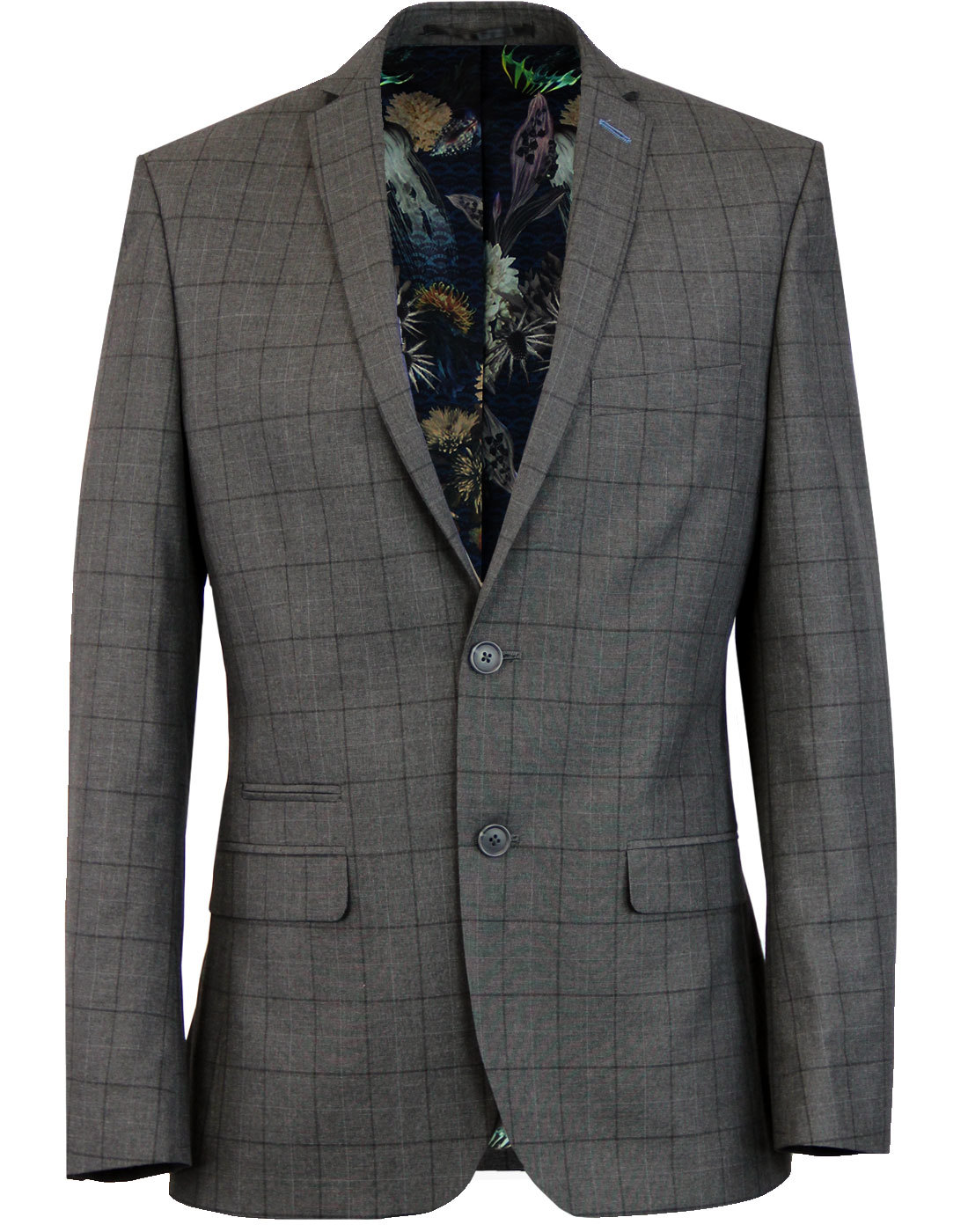 Retro Mod Windowpane Check 2 Button Suit Jacket