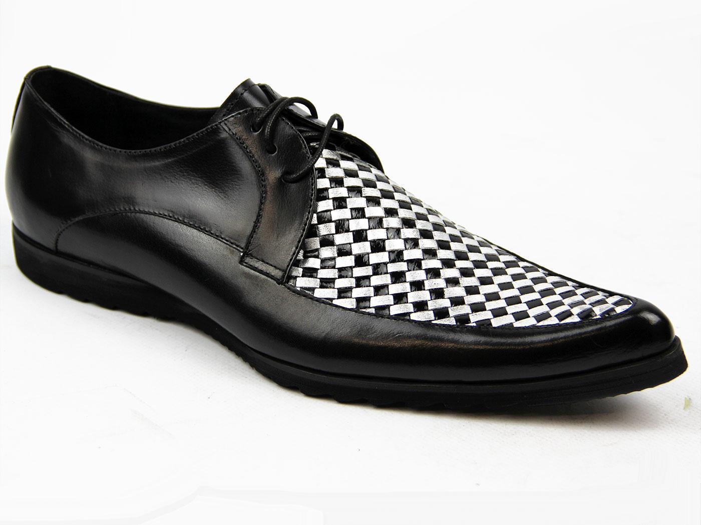 Mens Black White Winklepicker Shoes