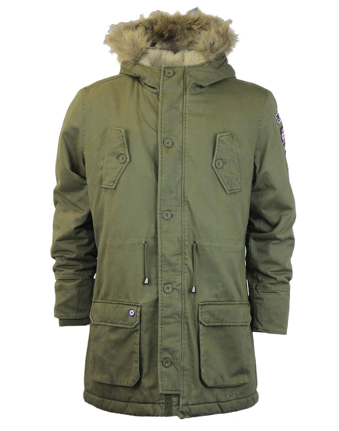 LAMBRETTA Mod Fishtail Parka With Retro Badges In Khaki