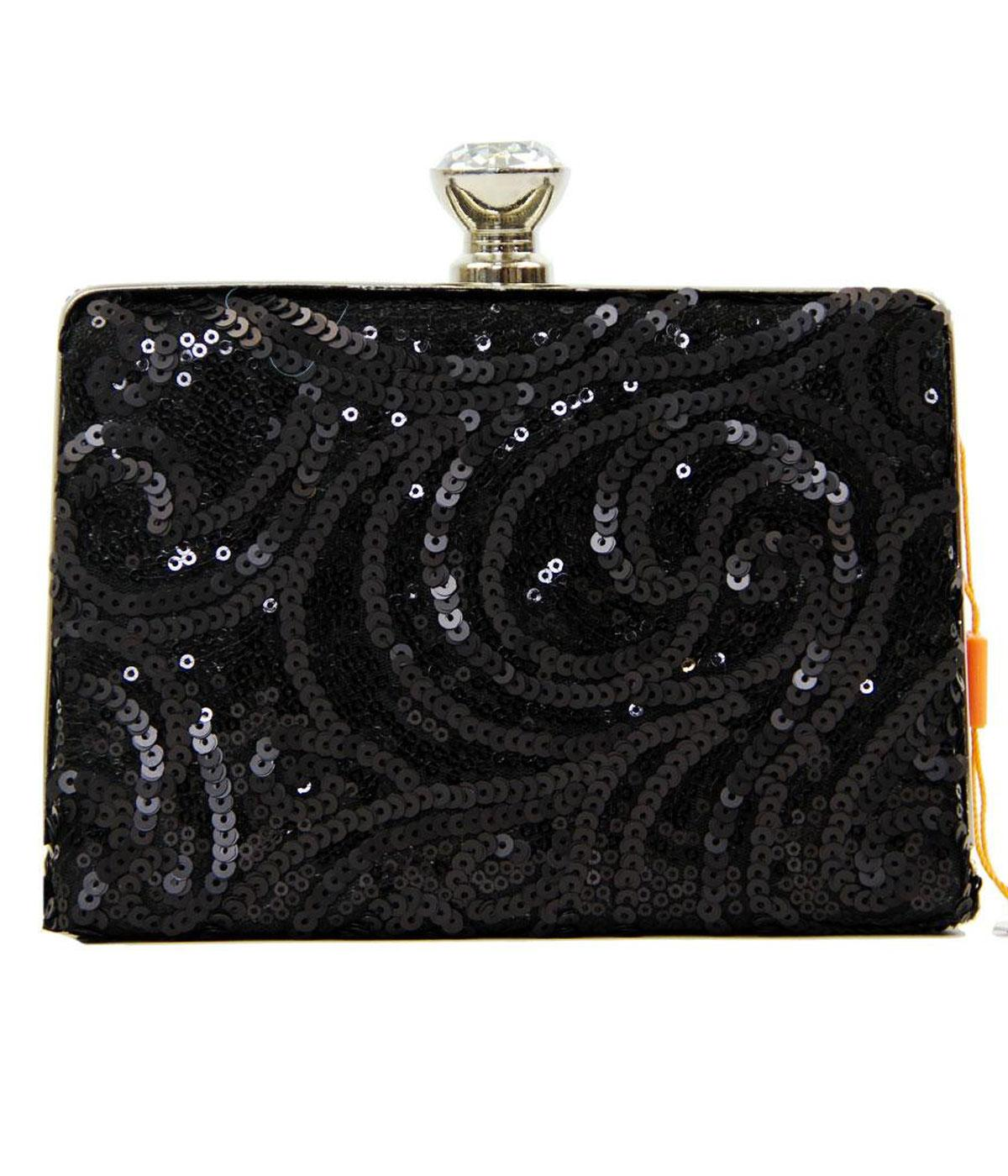 Black Sequin PEACH Mod Retro 60's Clutch Bag