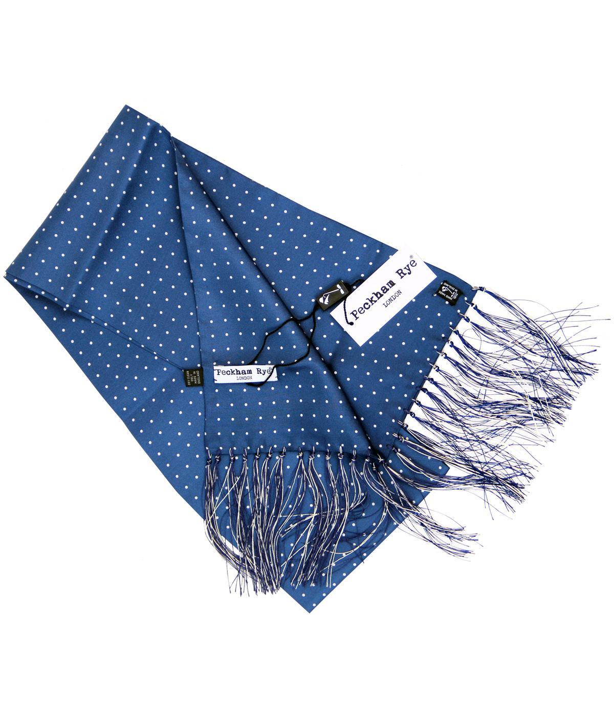 peckham rye spot retro 60s mod silk scarf blue and