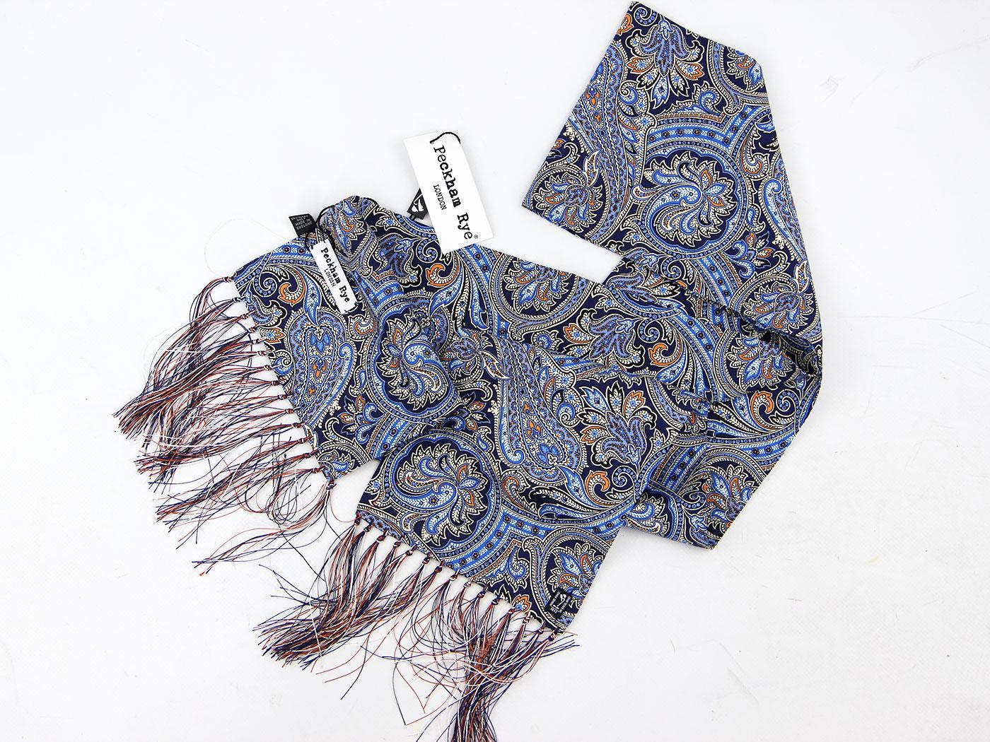 peckham rye matcham paisley retro mod scarf blue orange