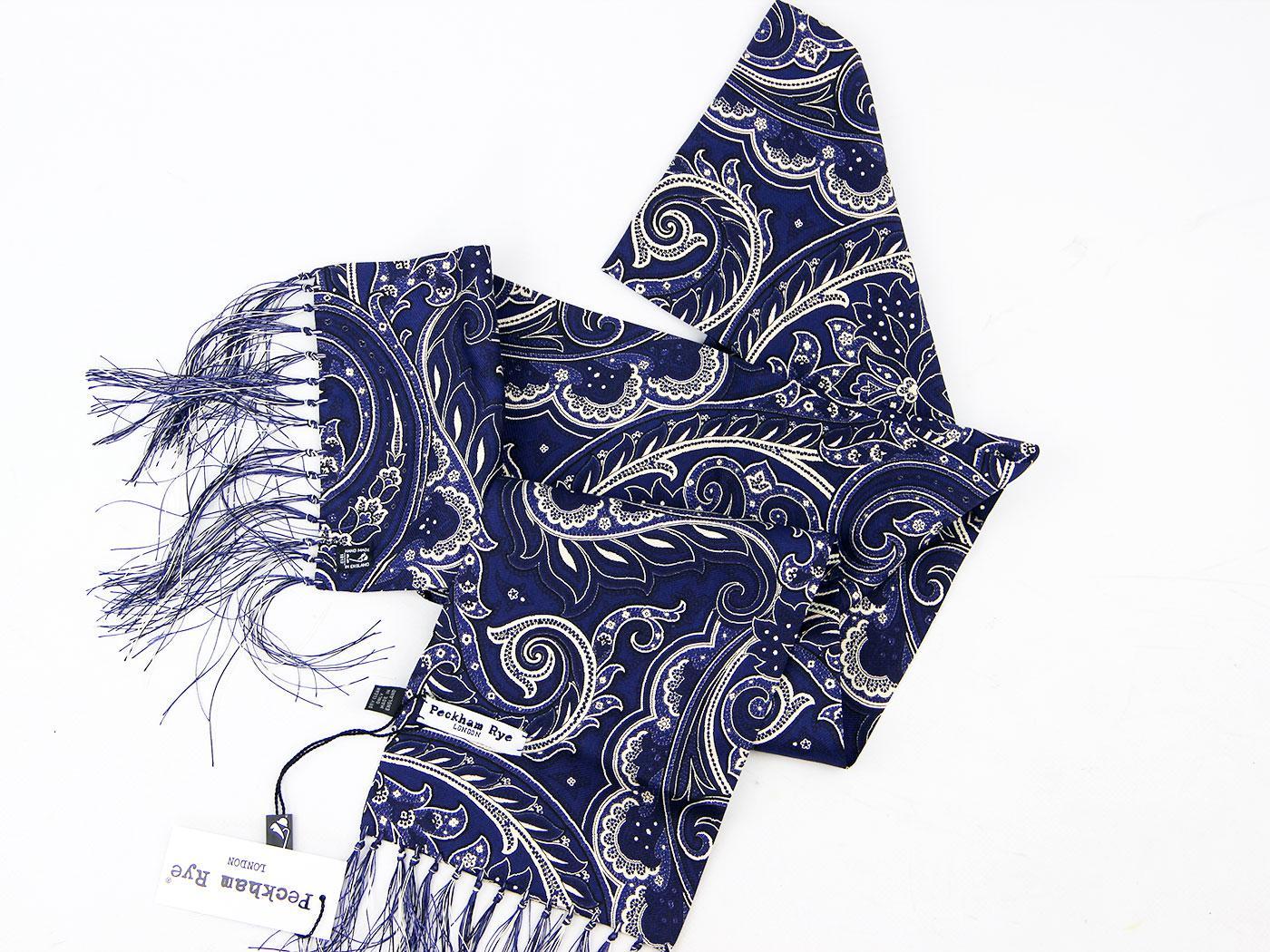 peckham rye paisley retro mod silk scarf navy