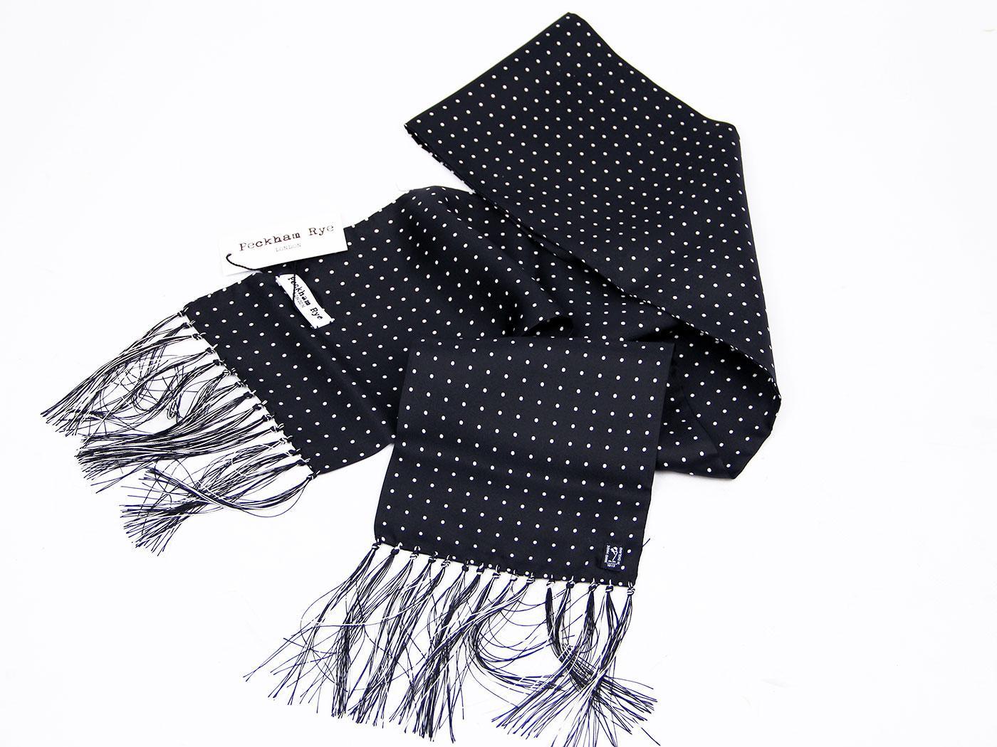 peckham rye spot retro 60s mod black silk scarf