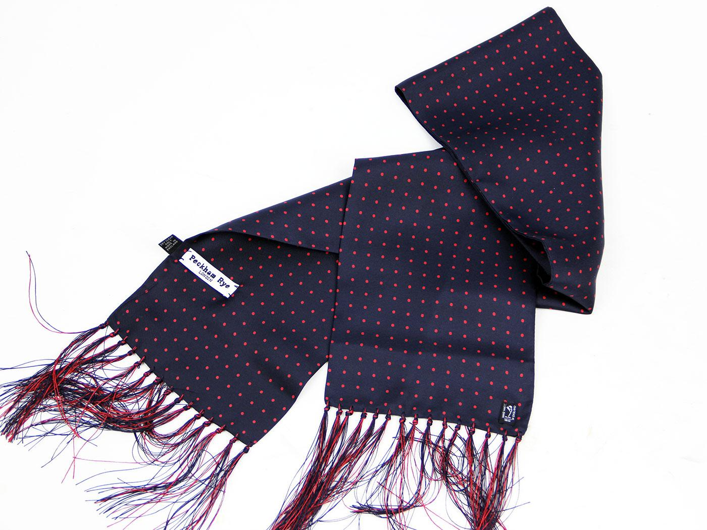 peckham rye spot retro 60s mod navy silk scarf