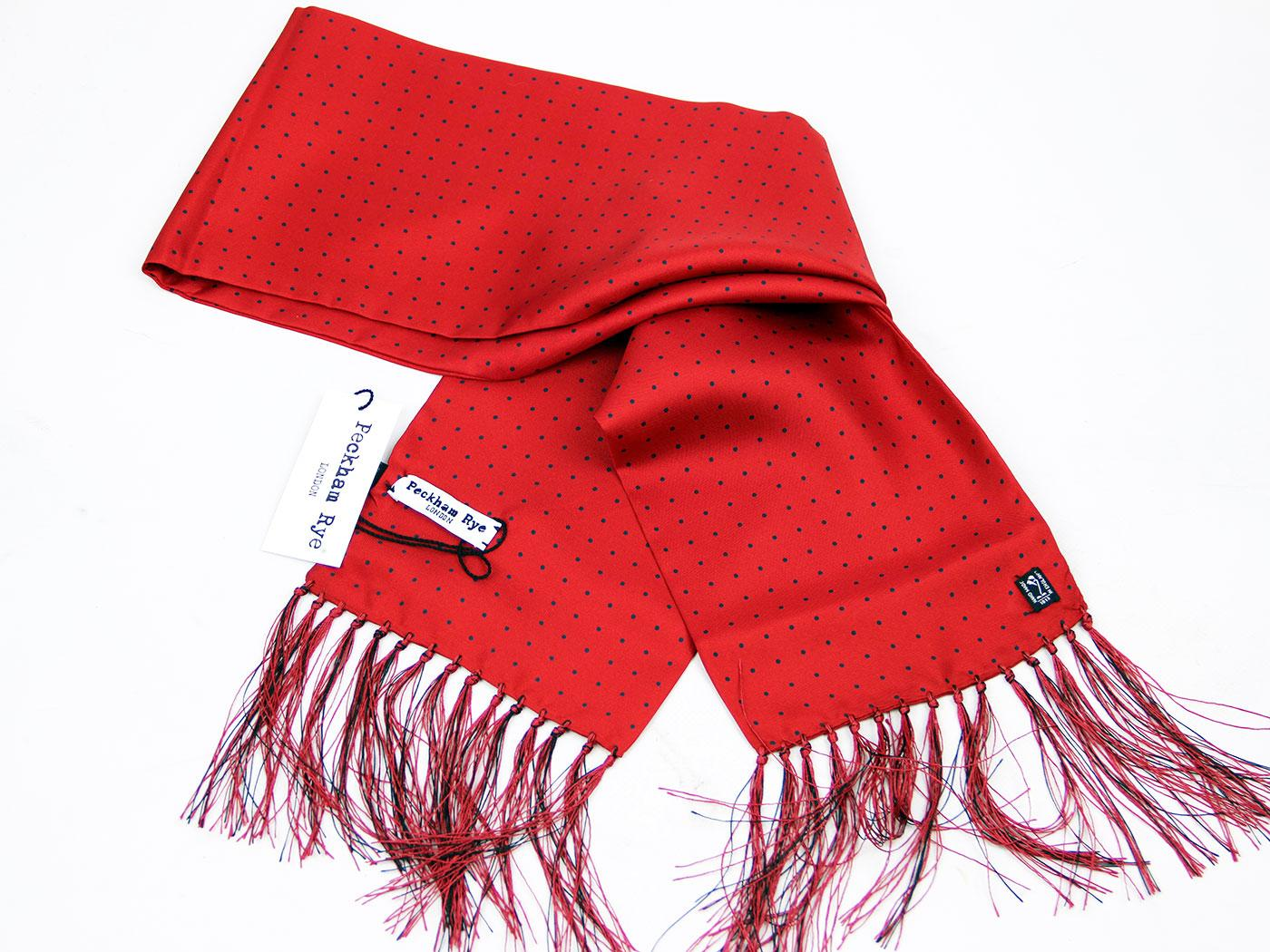 London Spot PECKHAM RYE Retro Mod Red Silk Scarf