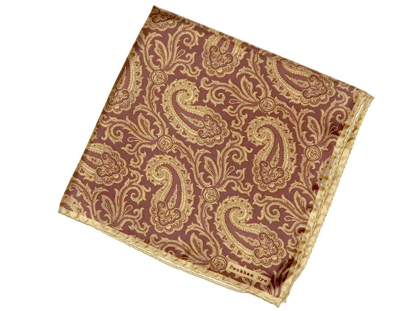 PECKHAM RYE Mod Large Bordo Paisley Pocket Square