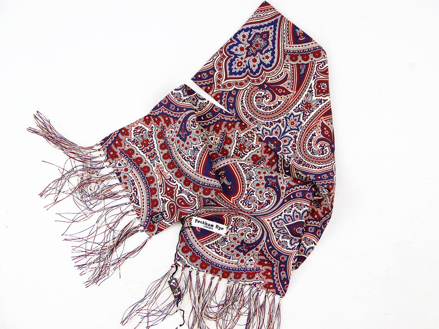 PECKHAM RYE Baroque Paisley Scarf Navy/Cream/Red