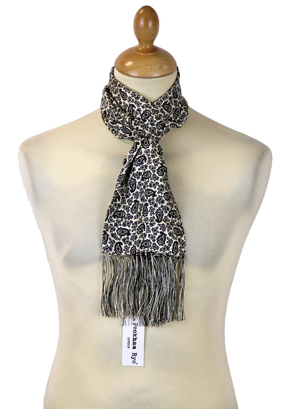 peckham rye retro 60s mod paisley silk scarf white ground