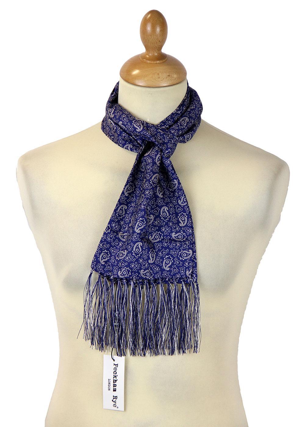 peckham rye retro 60s mod paisley silk scarf navy ground white