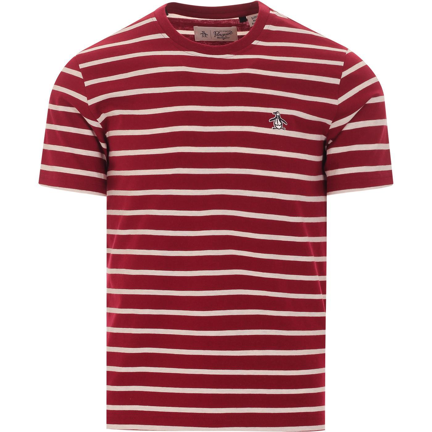 ORIGINAL PENGUIN Retro Mod Breton Stripe Tee (Red)