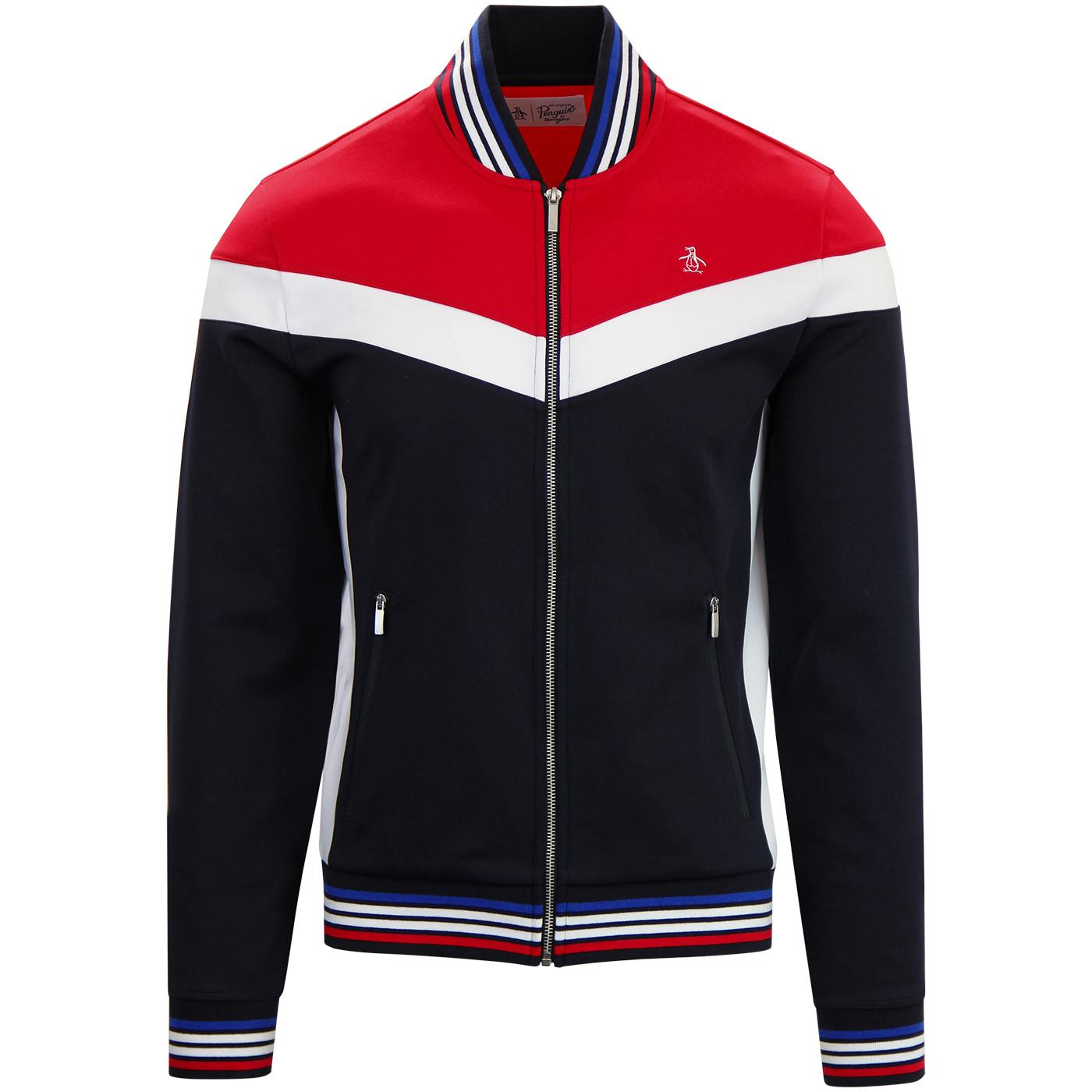 ORIGINAL PENGUIN Colour Block Bomber Track Top RED