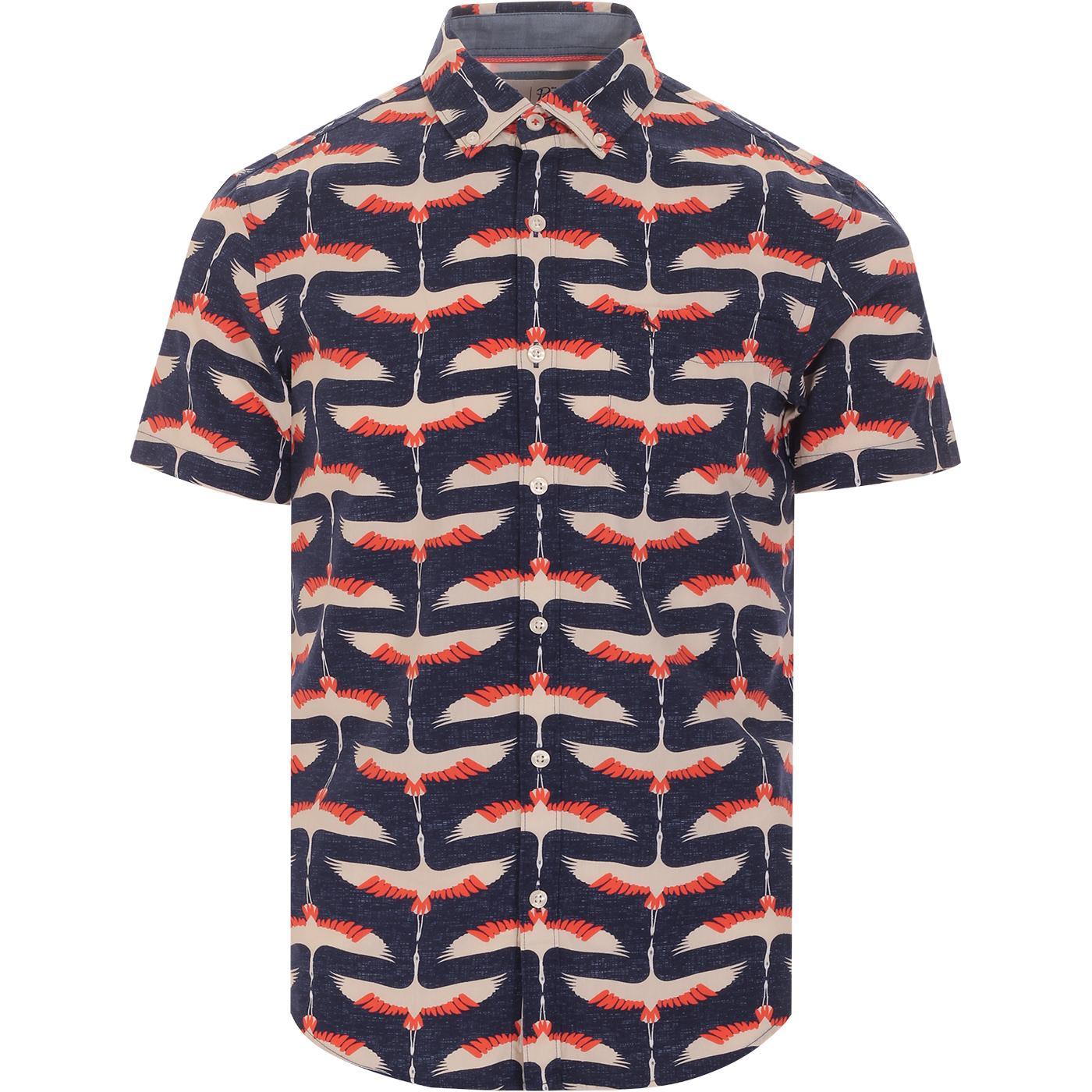 ORIGINAL PENGUIN Retro 70s Crane Print S/S Shirt