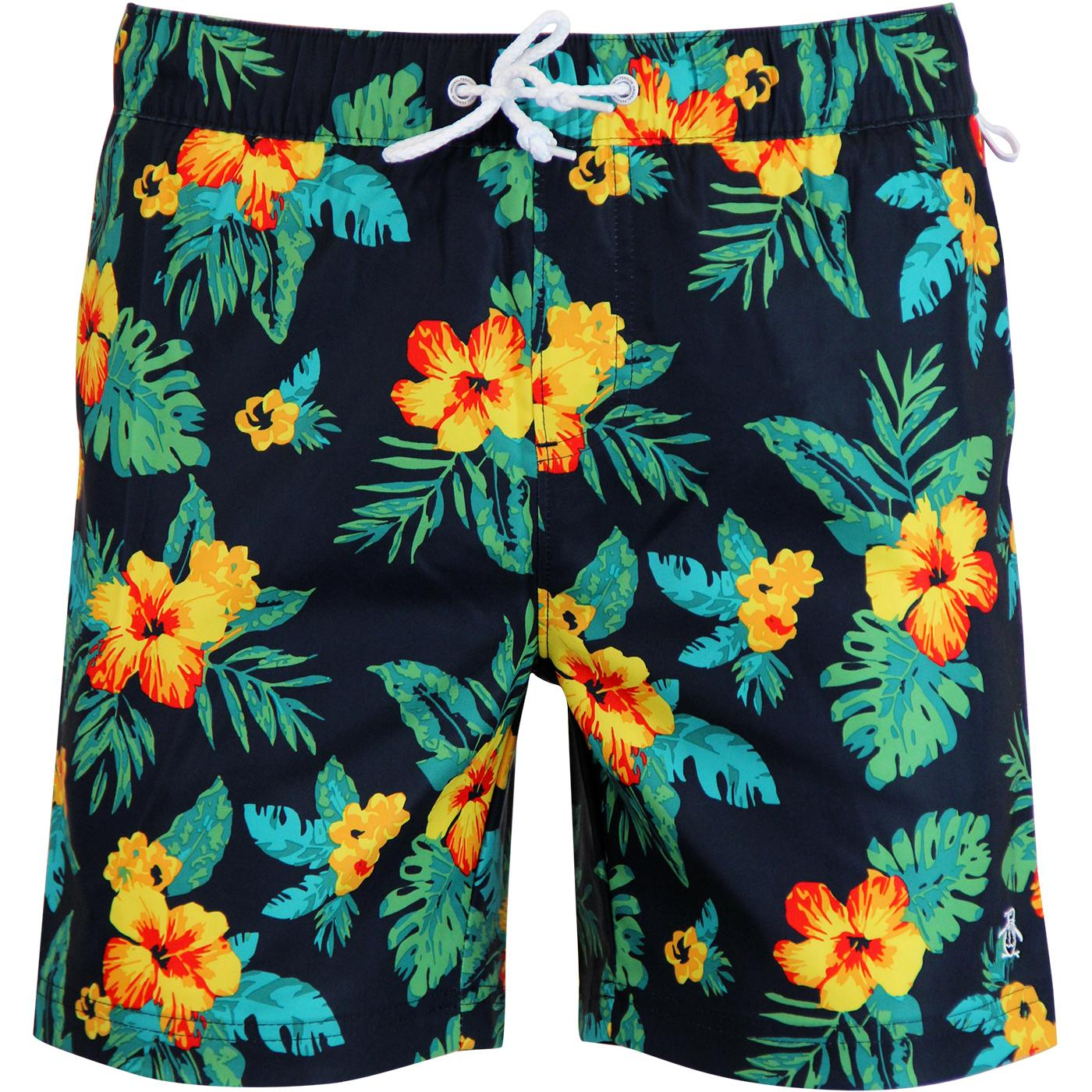 ORIGINAL PENGUIN Tropical Print Volley Swim Shorts