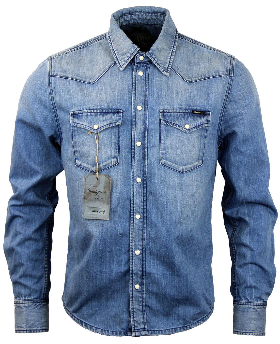 Carson pepe jeans retro 70s light wash denim over shirt for Ladies light denim shirt