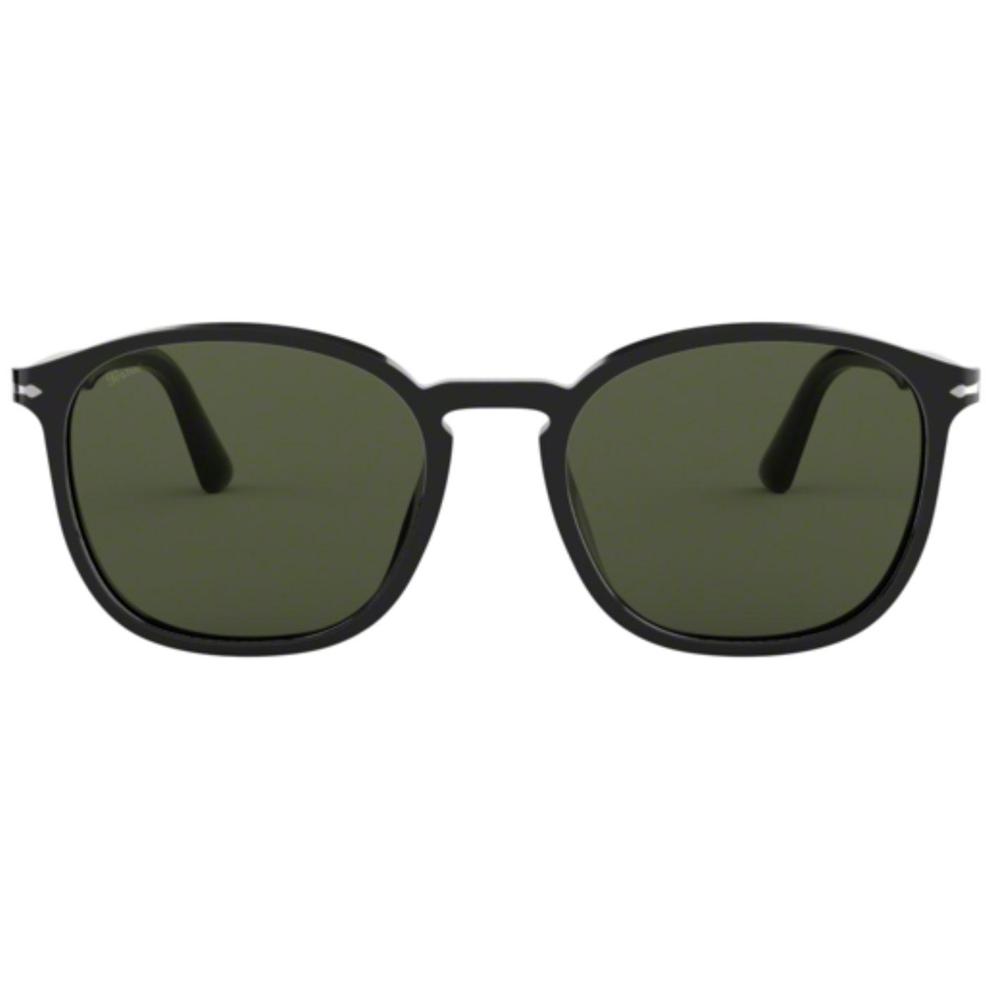 PERSOL Men's Retro 70s Wayfarer Sunglasses (Black)