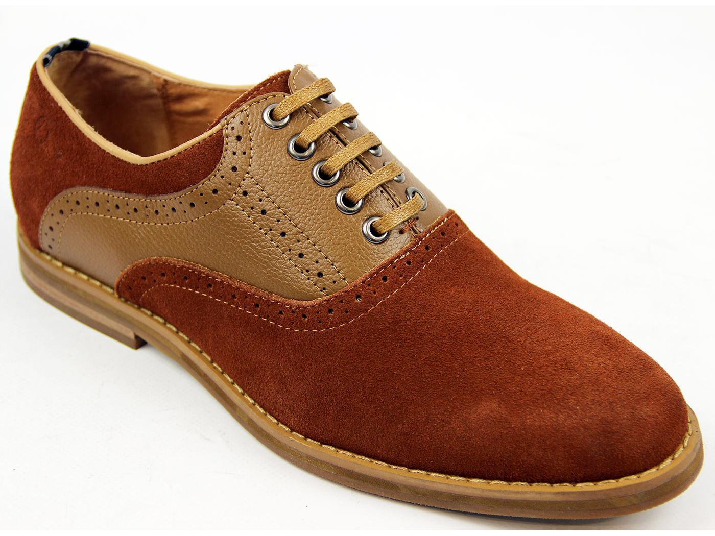 PETER WERTH Nesbitt Retro 60s Mod Saddle Oxford Shoes In Brown