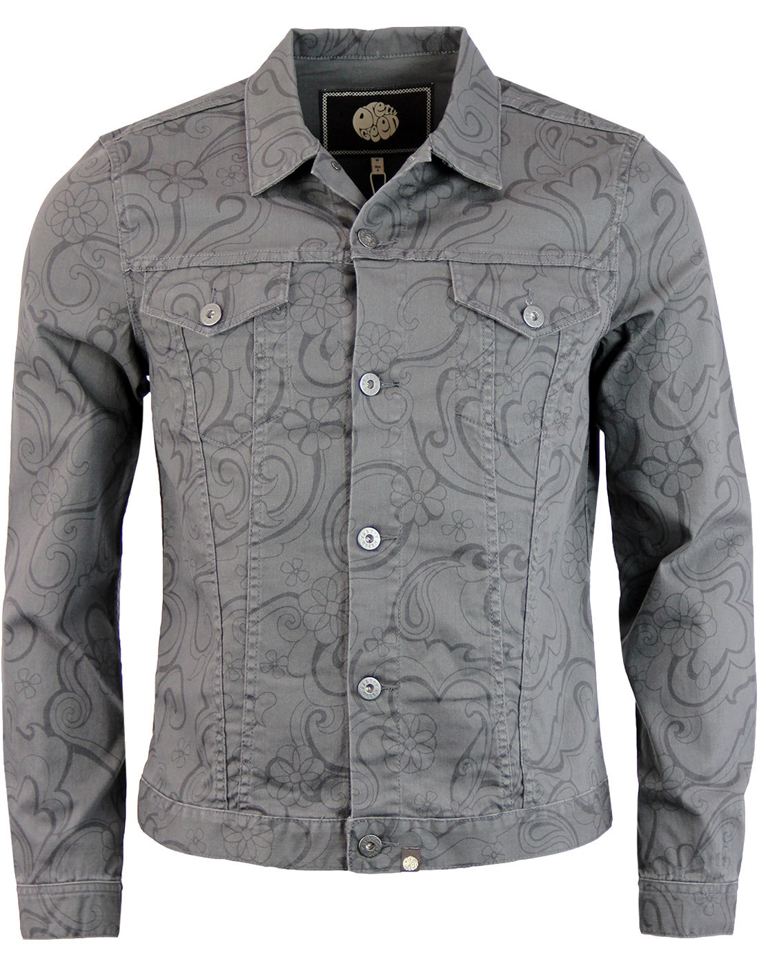 Beaufort PRETTY GREEN Floral Linear Denim Jacket