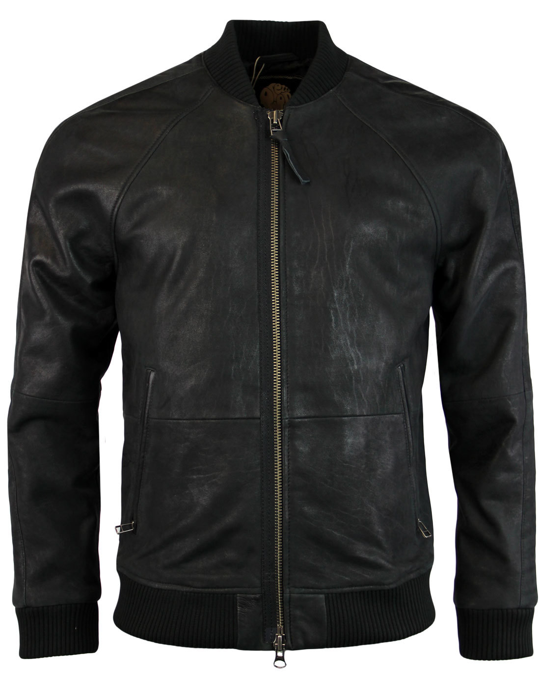 PRETTY GREEN Albion Retro 1970s Indie Leather Bomber Jacket Black