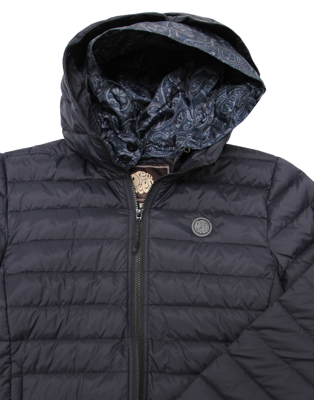PRETTY GREEN Mens Barker Lightweight Quilted Hooded Jacket in GREY